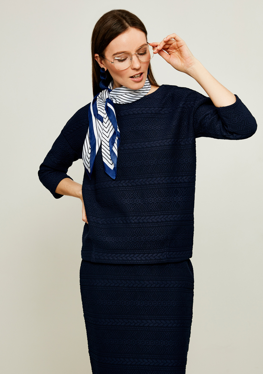 Джемпер женский Zarina, цвет: темно-синий. 8122500400047. Размер L (48)8122500400047