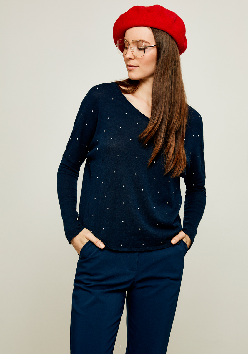 Джемпер женский Zarina, цвет: темно-синий. 8122606806047. Размер S (44) джемпер женский zarina цвет бирюзовый 8122613810016 размер s 44