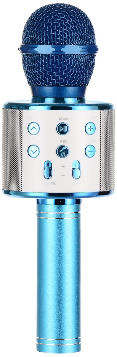 Karaoke Boom KB-WS858RU, Blue микрофонBP-00001201Беспроводные караоке-микрофоны Karaoke Boom – самая желанная новинка всех любителей петь под музыку. С ними можно петь абсолютно везде - дома, в гостях, на природе, в машине, самолете или поезде. Особенность состоит в том, что данное устройство выполняет как функцию микрофона, так и портативной колонки. Музыка и голос воспроизводятся одним компактным микрофоном. Музыка и отличное настроение Вам обеспечено вместе с Karaoke Boom!Яркий, выделяющийся дизайн, чистый и громкий стерео звук создадут неповторимое ощущение праздника и веселья. В микрофонах использованы самые современные технологии обработки голоса, что позволяет ему звучать по-настоящему профессионально, технологии интеллектуального снижения шума. Достаточно всего лишь подключиться к смартфону через Bluetooth, в микрофоне заиграет музыка – и можно начинать петь! Работает со смартфонами Android или IOS и абсолютно всеми приложениями для караоке. Можно записать исполнение, чтобы потом поделиться с близкими. На корпусе микрофона расположены кнопки включения/выключения музыки, регулировки громкости/перехода к предыдущему-следующему треку и включения самого устройства, а также дополнительные режимы. Мощный встроенный аккумулятор, позволяет петь от 6 до 12 часов (в зависимости от модели).Почувствуйте себя звездой вместе с караоке-микрофонами Karaoke Boom! Karaoke Boom KB-WS858RU – одна из наиболее популярных моделей, пользуется спросом как среди новичков, так и профессионалов караоке. Стильный, яркий дизайн притягивает взгляды, качественный мощный звук – внимание аудитории. Выполнен из прочного металла. Интеллектуальное снижение шума. Поставляется в удобном прочном кейсе.Технические характеристики: Интеллектуальное снижение шума. Может быть использован как громкоговоритель. Полностью выполнен из металла. 3 способа подключения: Bluetooth, проводное соединение AUX или USB (возможность проигрывать музыку с флеш-носителей). Встроенный слот под карту памяти. 2 HD динамика