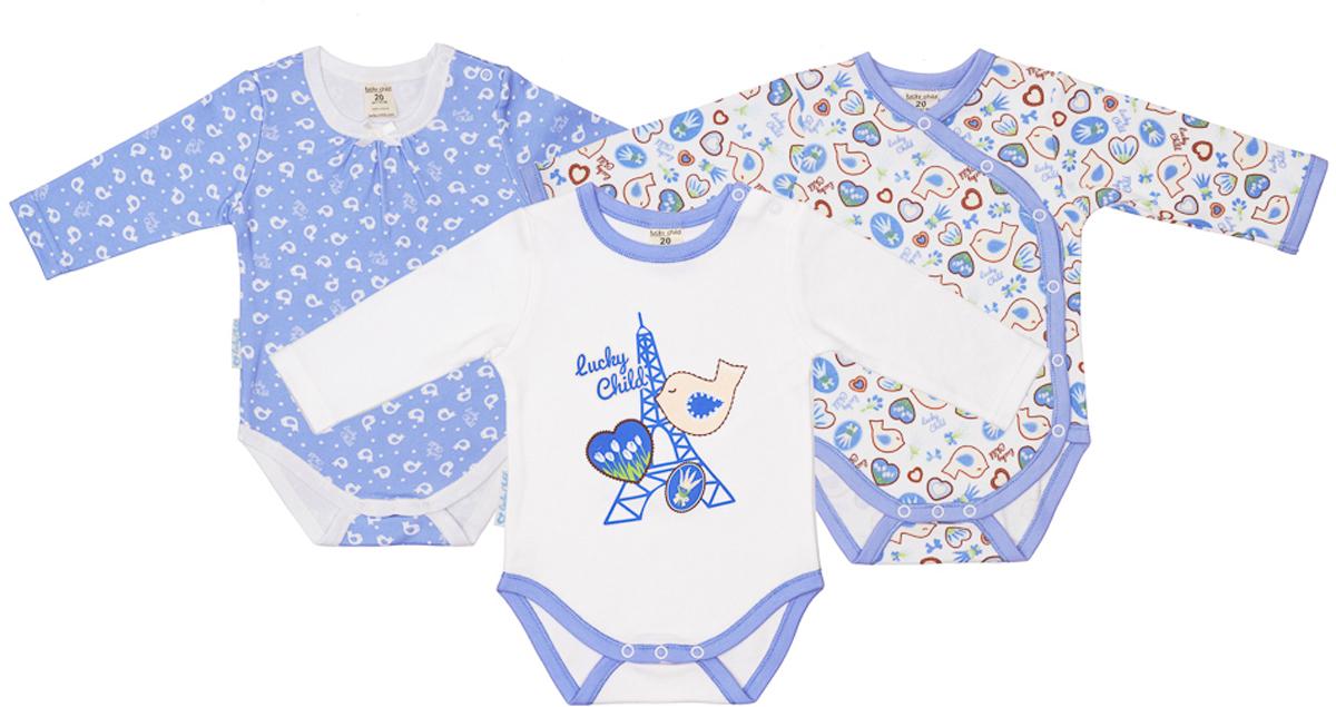 Боди детское Lucky Child, цвет: голубой, 3 шт. 30-182. Размер 56/6230-182Боди для новорожденного Lucky Child с длинными рукавами послужит идеальным дополнением к гардеробу вашего малыша, обеспечивая ему наибольший комфорт. Боди изготовлено из натурального хлопка, благодаря чему оно необычайно мягкое и легкое, не раздражает нежную кожу ребенка и хорошо вентилируется, а эластичные швы приятны телу младенца и не препятствуют его движениям. Удобные запахи на плечах и кнопки на ластовице помогают легко переодеть младенца и сменить подгузник. Боди полностью соответствует особенностям жизни ребенка в ранний период, не стесняя и не ограничивая его в движениях. В нем ваш малыш всегда будет в центре внимания. В комплект входят три боди.