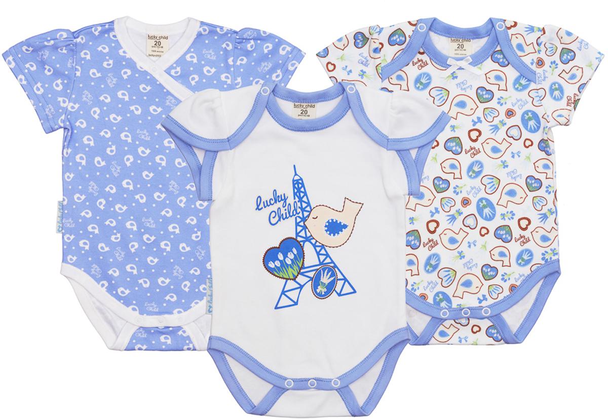 Боди детское Lucky Child, цвет: голубой, 3 шт. 30-183. Размер 68/74