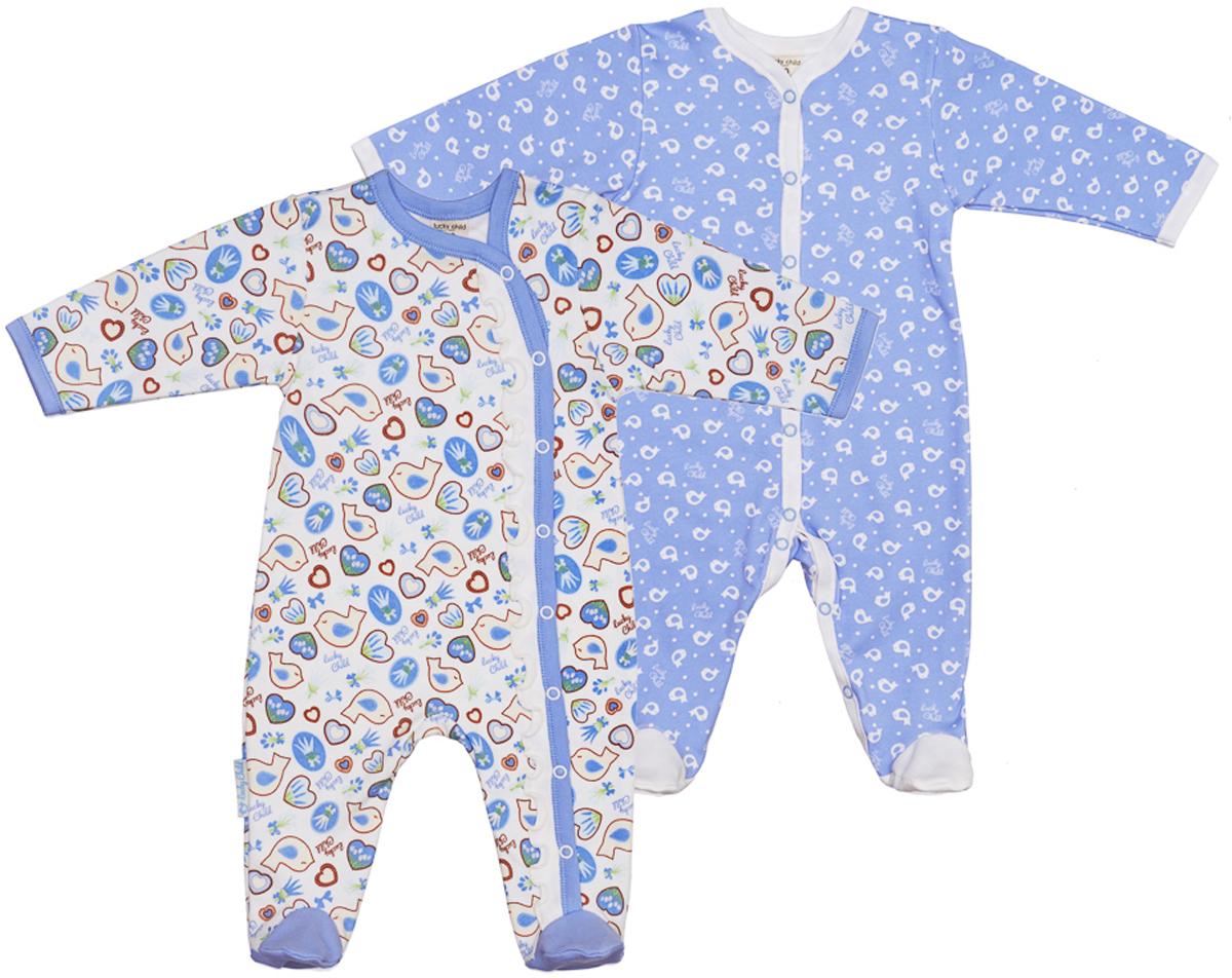 Комбинезон детский Lucky Child, цвет: голубой, 2 шт. 30-181. Размер 68/7430-181Детский комбинезон Lucky Child - очень удобный и практичный вид одежды для малышей. Комбинезон изготовлен из хлопка, благодаря чему, он необычайно мягкий и приятный на ощупь, не раздражает нежную кожу ребенка и хорошо вентилируется, а эластичные швы приятны телу малыша и не препятствуют его движениям. Комбинезон с длинными рукавами и закрытыми ножками имеет застежки-кнопки. Вырез горловины, планка и низ рукавов дополнены контрастными трикотажными вставками.С детским комбинезоном спинка и ножки вашего ребенка всегда будут в тепле, он идеален для использования днем и незаменим ночью. Комбинезон полностью соответствует особенностям жизни младенца в ранний период, не стесняя и не ограничивая его в движениях!
