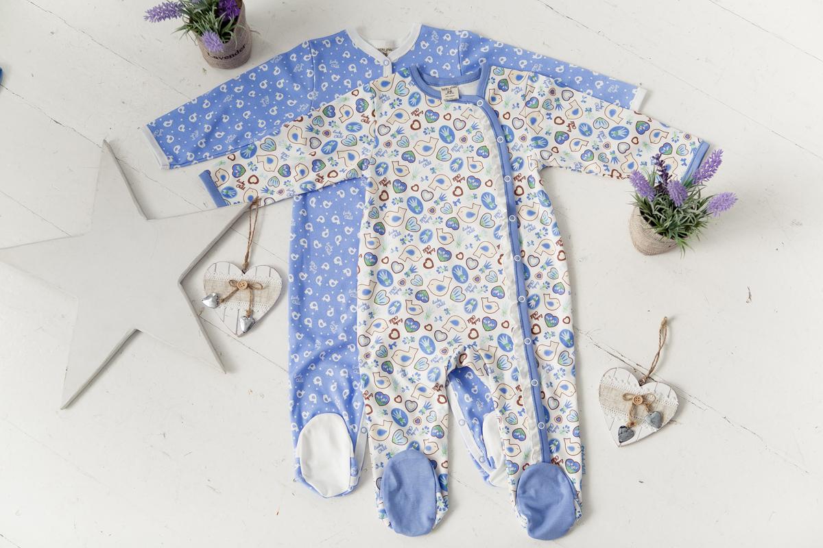 Комбинезон детский Lucky Child, цвет: голубой, 2 шт. 30-181-1. Размер 74/8030-181-1омбинезон с закрытыми ножками просто находка для малышей, которые еще только познают все прелести самостоятельного передвижения: штанишки не задираются при попытках ползать, и ножки всегда остаются в тепле. В коллекции Лаванда представлен комплект из двух комбинезонов высочайшего качества с оригинальными, нежнымипринтами: молочные птички на светло-голубом фоне и маленькие пряничные фигурки на белом.