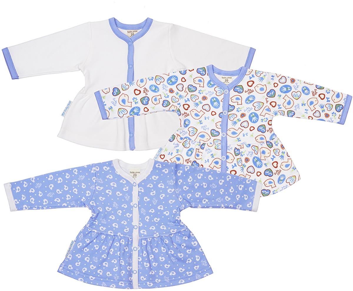 Кофточка детская Lucky Child, цвет: голубой, 3 шт. 30-186. Размер 62/6830-186Кофточки являются одним из тех предметов, которые просто необходимы в гардеробе малыша. Их удобно надевать благодаря кнопкам на плече, в них тепло и комфортно благодаря мягкому легкому материалу, а еще кофточки коллекции Лавандовый пряник такие красивые, что понравятся не только мамам, но и их крохам. В зависимости от настроения можно выбрать кофточку с маленькими белыми птичками или с пряничками разных цветов и форм, которые так и хочется попробовать на вкус, или молочно-белую кофточку сбукетиками лаванды, тюльпанов и сердечками, которые будут отлично сочетаться с шортиками или штанишками коллекции Лавандовый пряник.