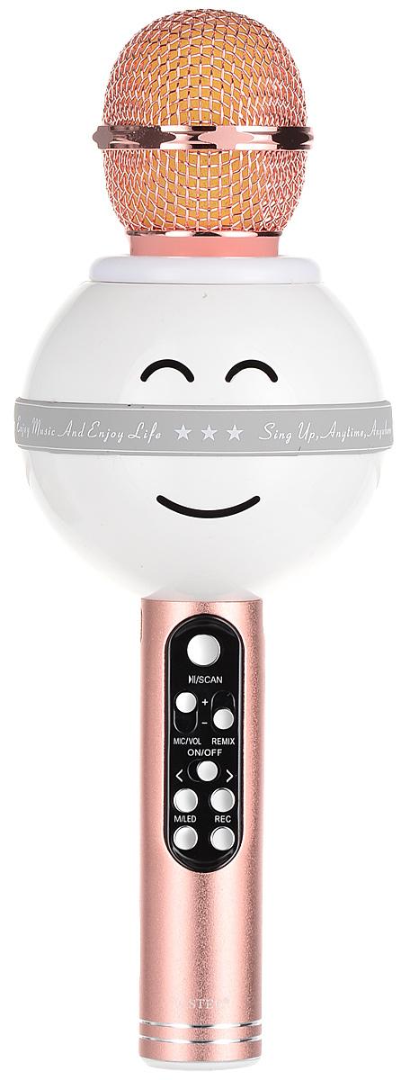 Karaoke Boom KB-WS878RU, Pink микрофонBP-00001220Беспроводные караоке-микрофоны Karaoke Boom – самая желанная новинка всех любителей петь под музыку. С ними можно петь абсолютно везде - дома, в гостях, на природе, в машине, самолете или поезде. Особенность состоит в том, что данное устройство выполняет как функцию микрофона, так и портативной колонки. Музыка и голос воспроизводятся одним компактным микрофоном. Музыка и отличное настроение Вам обеспечено вместе с Karaoke Boom!Яркий, выделяющийся дизайн, чистый и громкий стерео звук создадут неповторимое ощущение праздника и веселья. В микрофонах использованы самые современные технологии обработки голоса, что позволяет ему звучать по-настоящему профессионально, технологии интеллектуального снижения шума. Достаточно всего лишь подключиться к смартфону через Bluetooth, в микрофоне заиграет музыка – и можно начинать петь! Работает со смартфонами Android или IOS и абсолютно всеми приложениями для караоке. Можно записать исполнение, чтобы потом поделиться с близкими. На корпусе микрофона расположены кнопки включения/выключения музыки, регулировки громкости/перехода к предыдущему-следующему треку и включения самого устройства, а также дополнительные режимы. Мощный встроенный аккумулятор, позволяет петь от 6 до 12 часов (в зависимости от модели).Почувствуйте себя звездой вместе с караоке-микрофонами Karaoke Boom! Karaoke Boom KB-WS878RU – один из лучших беспроводных микрофонов по набору функций, качеству, характеристикам, громкости звука и по цене. Модель оснащена беспроводным модулем Bluetooth, слотом USB и microUSB для чтения музыкальных файлов, и радиоприемником в FM диапазоне. В микрофоне встроенна подсветка (при желании отключается специальной кнопкой).Можно использовать как обычную портативную колонку для проигрывания музыки. Поставляется в удобном прочном кейсе.Технические характеристики: Интеллектуальное снижение шума. Может быть использован как громкоговоритель. Подключение через Bluetooth. Мощность динамика: 5 Вт. 