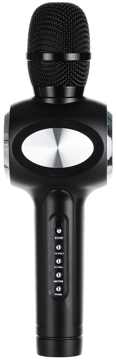 Karaoke Boom KB-108RU, Black микрофонBP-00001216Беспроводные караоке-микрофоны Karaoke Boom – самая желанная новинка всех любителей петь под музыку. С ними можно петь абсолютно везде - дома, в гостях, на природе, в машине, самолете или поезде. Особенность состоит в том, что данное устройство выполняет как функцию микрофона, так и портативной колонки. Музыка и голос воспроизводятся одним компактным микрофоном. Музыка и отличное настроение Вам обеспечено вместе с Karaoke Boom!Яркий, выделяющийся дизайн, чистый и громкий стерео звук создадут неповторимое ощущение праздника и веселья. В микрофонах использованы самые современные технологии обработки голоса, что позволяет ему звучать по-настоящему профессионально, технологии интеллектуального снижения шума. Достаточно всего лишь подключиться к смартфону через Bluetooth, в микрофоне заиграет музыка – и можно начинать петь! Работает со смартфонами Android или IOS и абсолютно всеми приложениями для караоке. Можно записать исполнение, чтобы потом поделиться с близкими. На корпусе микрофона расположены кнопки включения/выключения музыки, регулировки громкости/перехода к предыдущему-следующему треку и включения самого устройства, а также дополнительные режимы. Мощный встроенный аккумулятор, позволяет петь от 6 до 12 часов (в зависимости от модели).Почувствуйте себя звездой вместе с караоке-микрофонами Karaoke Boom! Karaoke Boom KB-108RU – это красивый и качественный беспроводной Bluetooth караоке микрофон. В микрофон встроены слоты для USB, MicroUSB, AUX, таким образом Вы можете ставить музыку на флешке и даже подключаться к дополнительному источнику звука через аудио-кабель. Можно использовать как обычную портативную колонку для проигрывания музыки. Поставляется в удобном прочном кейсе.Технические характеристики: Интеллектуальное снижение шума. Может быть использован как громкоговоритель. Подключение через Bluetooth. 2 HD динамика. Мощность динамика: 2 x 5 Вт. Звуковое поле – стерео. Функции регулировки громкости фоновой музык