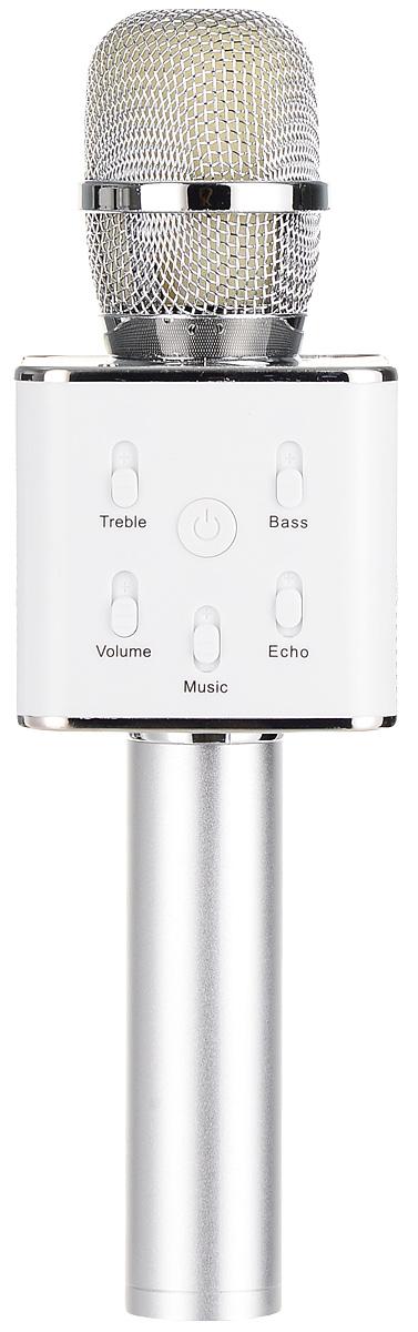 Karaoke Boom KB-Q7RU, Silver микрофонBP-00001204Беспроводные караоке-микрофоны Karaoke Boom – самая желанная новинка всех любителей петь под музыку. С ними можно петь абсолютно везде - дома, в гостях, на природе, в машине, самолете или поезде. Особенность состоит в том, что данное устройство выполняет как функцию микрофона, так и портативной колонки. Музыка и голос воспроизводятся одним компактным микрофоном. Музыка и отличное настроение Вам обеспечено вместе с Karaoke Boom!Яркий, выделяющийся дизайн, чистый и громкий стерео звук создадут неповторимое ощущение праздника и веселья. В микрофонах использованы самые современные технологии обработки голоса, что позволяет ему звучать по-настоящему профессионально, технологии интеллектуального снижения шума. Достаточно всего лишь подключиться к смартфону через Bluetooth, в микрофоне заиграет музыка – и можно начинать петь! Работает со смартфонами Android или IOS и абсолютно всеми приложениями для караоке. Можно записать исполнение, чтобы потом поделиться с близкими. На корпусе микрофона расположены кнопки включения/выключения музыки, регулировки громкости/перехода к предыдущему-следующему треку и включения самого устройства, а также дополнительные режимы. Мощный встроенный аккумулятор, позволяет петь от 6 до 12 часов (в зависимости от модели).Почувствуйте себя звездой вместе с караоке-микрофонами Karaoke Boom! Karaoke Boom KB-Q7RU – многофункциональный беспроводной микрофон, внешне напоминающий усовершенствованный вокальный микрофон со встроенным модулем. Выполнен из прочного металла. Поставляется в удобном прочном кейсе.Технические характеристики: Интеллектуальное снижение шума. Может быть использован как громкоговоритель. Прочный металлический корпус. Подключение через Bluetooth. 2 HD динамика. Мощность динамика: 2 x 5 Вт. Звуковое поле – 2.0 стерео. Функции: регулировка тона, басса, эха голоса. Функции регулировки громкости фоновой музыки, общей громкости микрофона. Тип аккумулятора: Литий-ионный. Емкость: 2600 мАч. Вре