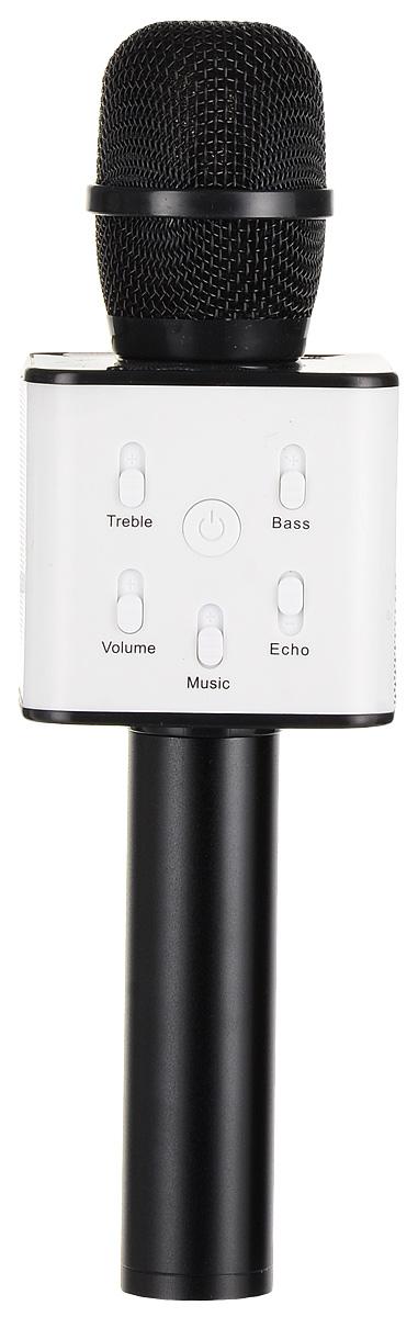 Karaoke Boom KB-Q7RU, Black микрофонBP-00001205Беспроводные караоке-микрофоны Karaoke Boom – самая желанная новинка всех любителей петь под музыку. С ними можно петь абсолютно везде - дома, в гостях, на природе, в машине, самолете или поезде. Особенность состоит в том, что данное устройство выполняет как функцию микрофона, так и портативной колонки. Музыка и голос воспроизводятся одним компактным микрофоном. Музыка и отличное настроение Вам обеспечено вместе с Karaoke Boom!Яркий, выделяющийся дизайн, чистый и громкий стерео звук создадут неповторимое ощущение праздника и веселья. В микрофонах использованы самые современные технологии обработки голоса, что позволяет ему звучать по-настоящему профессионально, технологии интеллектуального снижения шума. Достаточно всего лишь подключиться к смартфону через Bluetooth, в микрофоне заиграет музыка – и можно начинать петь! Работает со смартфонами Android или IOS и абсолютно всеми приложениями для караоке. Можно записать исполнение, чтобы потом поделиться с близкими. На корпусе микрофона расположены кнопки включения/выключения музыки, регулировки громкости/перехода к предыдущему-следующему треку и включения самого устройства, а также дополнительные режимы. Мощный встроенный аккумулятор, позволяет петь от 6 до 12 часов (в зависимости от модели).Почувствуйте себя звездой вместе с караоке-микрофонами Karaoke Boom! Karaoke Boom KB-Q7RU – многофункциональный беспроводной микрофон, внешне напоминающий усовершенствованный вокальный микрофон со встроенным модулем. Выполнен из прочного металла. Поставляется в удобном прочном кейсе.Технические характеристики: Интеллектуальное снижение шума. Может быть использован как громкоговоритель. Прочный металлический корпус. Подключение через Bluetooth. 2 HD динамика. Мощность динамика: 2 x 5 Вт. Звуковое поле – 2.0 стерео. Функции: регулировка тона, басса, эха голоса. Функции регулировки громкости фоновой музыки, общей громкости микрофона. Тип аккумулятора: Литий-ионный. Емкость: 2600 мАч. Врем