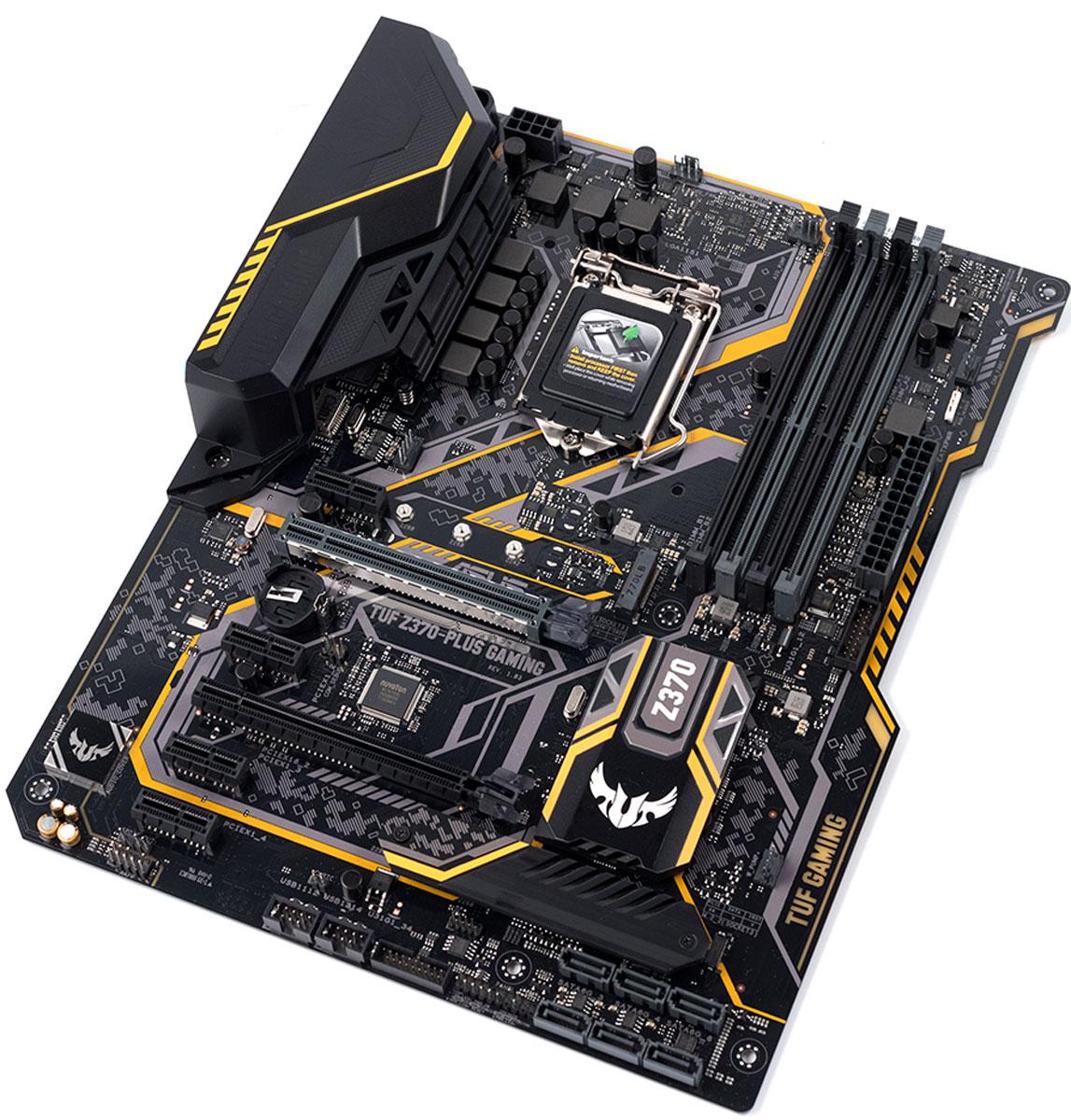 ASUS TUF Z370-Plus Gaming материнская платаTUF Z370-PLUS GAMINGASUS TUF Z370-Plus Gaming - это высоконадежная геймерская материнская плата формата ATX с процессорным разъемом Intel LGA1151,светодиодной подсветкой Aura и современными интерфейсами.Материнская плата TUF Gaming – высококачественное устройство, которое отличается высокой надежностью и стильным, агрессивнымдизайном. Модель TUF Z370-Plus Gaming станет прекрасным выбором для игровой компьютерной системы, которую собирают с прицелом надолговременное использование.Технология DTS Custom, реализованная в аудиосистеме данной материнской платы, использует специальные алгоритмы для эмуляциипространственного звучания при использовании стереонаушников и гарнитур. Она работает в трех режимах, которые оптимизированы подигры определенных жанров.Материнские плата серии ASUS TUF Z370-Plus Gaming – это не только мощное и функциональное, но еще и невероятно красивое устройство,ведь оно оснащается встроенной подсветкой Aura с гибкой регулировкой. Кроме того, к плате можно подключить дополнительныесветодиодные ленты и синхронизировать визуальные эффекты с другими Aura-совместимыми устройствами ASUS, чтобы тем самым придатьеще большую индивидуальность и яркость всему компьютеру.Ethernet-контроллеры, разработанные специалистами Intel, славятся своей стабильной и эффективной работой при низком уровне загрузкицентрального процессора. Разъем проводной сети Ethernet дополнительно защищен от электростатических разрядов и всплесков напряжения.Утилита Turbo LAN с технологией управления сетевым трафиком cFosSpeed позволяет легко уменьшить лаги во время игры через интернетпосредством удобного программного интерфейса. Для удобства настройки в ней имеется специальный геймерский режим, в котором всеигровые данные будут иметь максимальный приоритет при передаче по сети.Для слотов памяти используется оптимизированная разводка в определенном слое печатной платы (технология OptiMem), способствующаяминимизации электромагнитных помех, и T-образ
