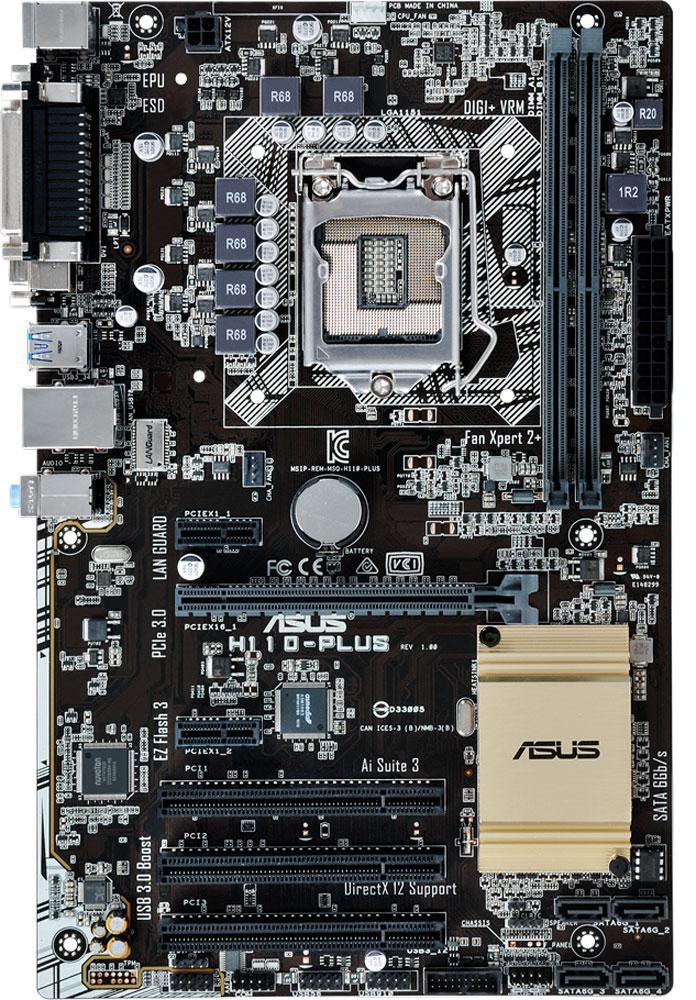 ASUS H110-Plus материнская платаH110-PLUSASUS H110-PLUS - функциональная материнская плата формата ATX на базе чипсета Intel H110.Материнские платы ASUS могут похвастать долгим сроком службы за счет технологии 5X Protection II, котораяохватывает целый ряд инженерных решений, служащих для защиты от электрических перегрузок, коррозии,электростатических разрядов и прочих неприятностей.В системе питания данной материнской платы используются стабилизаторы, обеспечивающие защиту отперепадов напряжения, которые могут возникнуть при использовании блоков питания не самого высокогокачества.Данная материнская плата дает возможность вывести на переднюю панель компьютерного корпуса двавысокоскоростных порта USB 3.0.Слоты памяти оснащаются удобными односторонними защелками, расположенными у края материнской платы.Благодаря им вставлять и извлекать модули памяти не составит ни малейшего труда.Интеллектуальная система ASUS Fan Xpert регулирует скорость процессорного кулера и корпусных вентиляторовв зависимости от загрузки системы и температуры окружающей среды, обеспечивая бесшумную работукомпьютера.Все эксклюзивные функции и технологии ASUS доступны посредством единого программного интерфейса ASUSAI Suite 3. С его помощью можно осуществлять разгон компьютера, управлять параметрами энергопотребления ивентиляторами, изменять напряжения и следить за состоянием системы. Единый интерфейс избавляетпользователя от необходимости переключаться между дюжиной разных утилит.