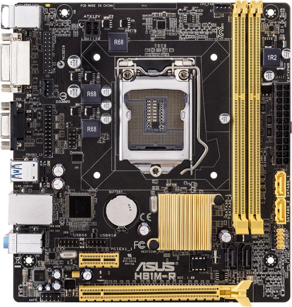 ASUS H81M-R/C/SI материнская платаH81M-RASUS H81M-R/C/SI - компактная материнская плата на базе чипсета Intel H81.Intel H81 Express - это новейший чипсет, оптимизированный для работы с процессорами Intel серий Core i7, Core i5,Core i3 четвертого поколения, вставляемыми в разъем LGA1150. Он отличается высокой стабильностью,производительностью и пропускной способностью. H81 предлагает два порта USB 3.0, а также позволяетиспользовать графическое ядро, встроенное в современные процессоры Intel.ASUS UEFI BIOS представляет собой реализацию стандарта UEFI (Unified Extensible Firmware Interface -Унифицированный расширяемый интерфейс прошивки), который пришел на смену традиционным системам BIOS.Одним из видимых невооруженным взглядом преимуществ ASUS UEFI BIOS является поддержка не толькоклавиатуры, но и мыши. Кроме того, специально для неопытных пользователей предлагается упрощенный режимработы (EZ Mode), в котором можно легко и быстро задать базовые настройки компьютерной системы.Для ускорения интерфейса USB 3.0 специалисты ASUS реализовали поддержку протокола UASP. Прииспользовании совместимого периферийного устройства скорость передачи данных по USB возрастает до170%! Для работы с функцией USB 3.0 Boost имеется удобный графический интерфейс.Удобная защелка графического слота позволяет с удобством устанавливать и вынимать любую видеокарту.С помощью удобного интерфейса BIOS пользователь может указать предпочтительный метод загрузки:ускоренный (занимающий всего пару секунд) или обычный. Заданный метод будет применяться при всехпоследующих загрузках операционной системы.Все эксклюзивные функции и технологии ASUS теперь доступны посредством единого программногоинтерфейса ASUS AI Suite 3. С его помощью можно осуществлять разгон компьютера, управлять параметрамиэнергопотребления и вентиляторами, изменять напряжения и следить за состоянием системы. Единыйинтерфейс избавляет пользователя от необходимости переключаться между дюжиной разных утилит.