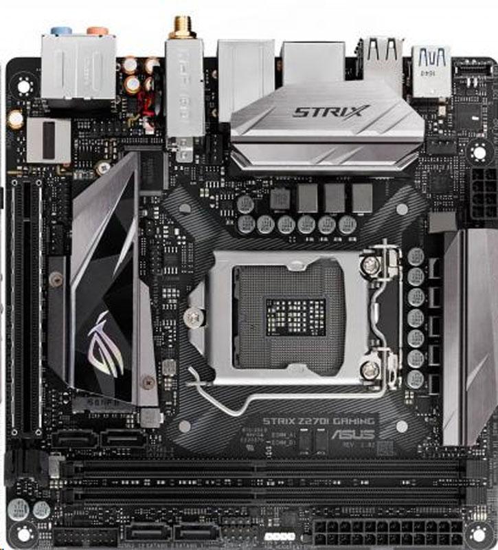 ASUS Strix Z270I Gaming материнская платаSTRIX Z270I GAMINGASUS Strix Z270I Gaming - это материнская плата формата mini-ITX с процессорным разъемом Intel LGA1151, системой подсветки Aura Sync и современными интерфейсами.Материнские платы серии ROG Strix Z270 продолжают славные традиции геймерских продуктов серии Pro Gaming, дополняя их современными решениями от команды разработчиков Republic of Gamers. Модель ROG Strix Z270I Gaming – это смелый дизайн, первоклассная производительность и невероятный звук в компактном форм-факторе mini-ITX. Поддержка новейших процессоров Intel сочетается в этом стильном устройстве с эксклюзивными инновациями от ROG, такими как высокоэффективный двухъярусный радиатор. Присоединяйтесь к Республике Геймеров и побеждайте вместе с ROG Strix Z270I Gaming!На материнской плате ROG Strix Z270I Gaming применен компактный двухъярусный радиатор, одна половина которого охлаждает чипсет, а вторая – твердотельный накопитель, установленный в разъем M.2. Обе части термически изолированы, поэтому чипсет и накопитель никак не влияют на температуру друг друга. Помимо высокоэффективного охлаждения компонентов (температура твердотельного накопителя понижается на значение до 20 градусов), этот радиатор обладает оригинальной формой и служит еще одним декоративным элементом в облике всего устройства.Система ASUS Aura Sync дает возможность использовать вместе сразу несколько устройств со светодиодной подсветкой Aura, обеспечивая идеальную синхронизацию визуальных эффектов с единым центром управления из удобного приложения. С помощью Aura Sync вы сможете создать настоящую симфонию света и сделать внешний вид своего компьютера поистине уникальным.Встроенная аудиосистема SupremeFX, реализованная на данной материнской плате, может похвастать невероятно высоким качеством линейного входа для записи звука (соотношение сигнал шум – 113 дБ), равно как и линейного выхода для его воспроизведения (соотношение сигнал шум – 120 дБ). Помимо современного кодека Realtek S1220A