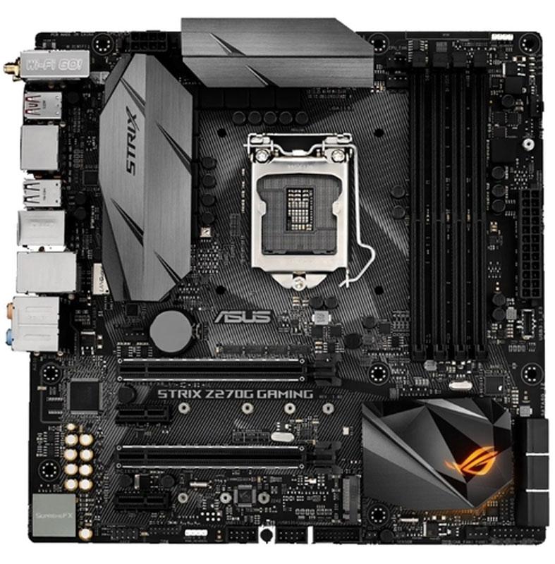 ASUS Strix Z270G Gaming материнская платаSTRIX Z270G GAMINGГеймерская mATX-плата ASUS Strix Z270G для платформы Intel LGA 1151 с технологией синхронизации светодиодной подсветки Aura Sync, модулем Wi-Fi 802.11ac, поддержкой DDR4 4000 МГц, двумя разъемами M.2, портами SATA 6 Гбит/с, HDMI и USB 3.1 Type-C на передней панели.Материнские платы серии ROG Strix Z270 продолжают славные традиции геймерских продуктов серии Pro Gaming, дополняя их современными решениями от команды разработчиков Republic of Gamers. В материнской плате ROG Strix Z270G Gaming сочетаются смелая эстетика, отличная производительность и невероятное качество звучания, которые подарят пользователям непревзойденные возможности для игр и подчеркнут их эксклюзивный геймерский стиль. Поддержка новейших процессоров и технологий Intel и эксклюзивные инновации ROG выводят производительность системы, построенной на базе данной платы, на новый уровень, чтобы предоставить геймеру полное преимущество над оппонентами. ROG Strix Z270G заряжает каждое движение игрока в игре мощной энергией и вооружает его несравненной скоростью и ловкостью. Присоединяйтесь к республике геймеров с ROG Strix Z270G Gaming и доминируйте в каждой игре!В комплект материнской платы входит удобная в работе утилита Aura для управления подсветкой, с помощью которой дизайн вашего компьютера станет незабываемым. Она позволяет регулировать как встроенную светодиодную подсветку, так и подключенные к 4-контактному разъему на плате ROG Strix Z270G Gaming светодиодные ленты, в частности в режиме синхронизации. Для системы Aura можно выбрать один из девяти режимов работы.Сочетая в единой системе светодиодную подсветку системных плат, видеокарт, клавиатур, стандартных RGB-лент и других устройств и компонентов, технология синхронизации ASUS Aura Sync позволяет создать настоящую симфонию света для оригинальной стилизации компьютерной системы! Избранные эффекты Aura можно воспроизводить синхронно на всех совместимых устройствах, подключенных к системе н