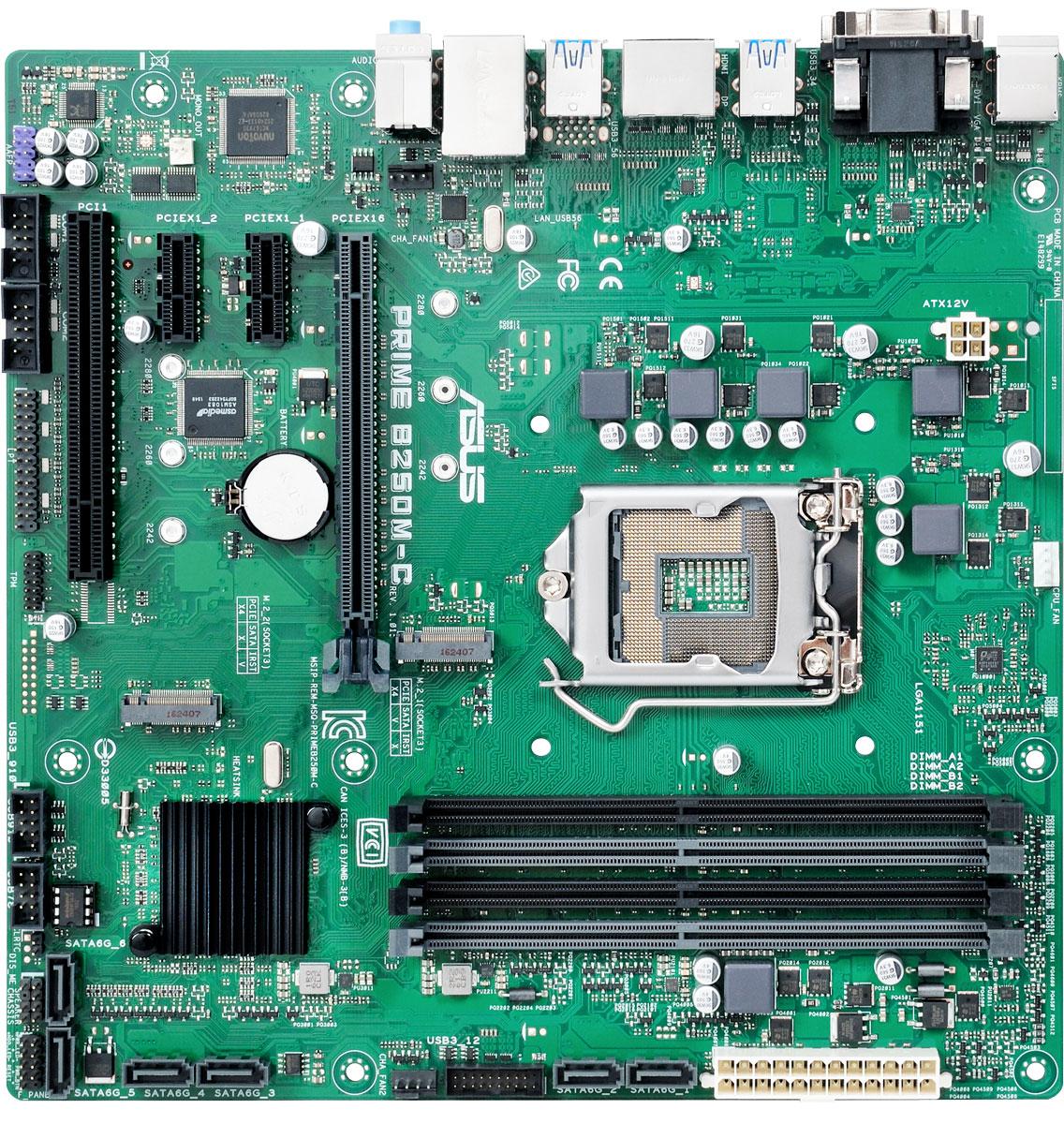 ASUS Prime B250M-C/CSM материнская платаPRIME B250M-C/CSMМатеринская плата ASUS Prime B250M-C/CSM формата micro-ATX коммерческой серии.Материнские плата ASUS Prime B250M-C/CSM может похвастать долгим сроком службы за счет технологии 5X Protection III, которая охватывает целый ряд инженерных решений, служащих для защиты от электрических перегрузок, коррозии, электростатических разрядов и прочих неприятностей.Технология SafeSlot Core – это особый способ крепления слота PCIe, который обеспечивает большую прочность и устойчивость к деформациям.Разъем проводной сети на данной материнской плате оснащается специальной защитой от статического электричества и перепадов напряжения.В системе питания данной материнской платы используются стабилизаторы, обеспечивающие защиту от перепадов напряжения, которые могут возникнуть при использовании блоков питания не самого высокого качества. Данная материнская плата обладает специальным влагоотталкивающим покрытием, которое продлевает срок службы устройства в условиях повышенной влажности. Данная материнская плата поставляется с разнообразным программным обеспечением. Для корпоративных пользователей особенно полезным будет приложение ASUS Remote Management Tool, которое служит для удаленного администрирования.Поскольку индивидуализация продукта является существенным фактором в привлечении к нему внимания покупателя, ASUS предлагает комплект средств для гибкой настройки BIOS материнских плат коммерческой серии.Клеммные колодки интерфейсов USB 3.0 и USB 2.0 защищены пластиковыми рамками, что предотвращает случайное их повреждение и облегчает подключение кабелей.Положение разъемов на материнских платах ASUS коммерческой серии остается неизменным от поколения к поколению, что облегчает переход от старых моделей к новым.Широкие защелки графических слотов позволяют с удобством устанавливать и вынимать любые видеокарты.Слоты памяти оснащаются удобными односторонними защелками, расположенными у края материнской платы. Благодаря им вставлять и 