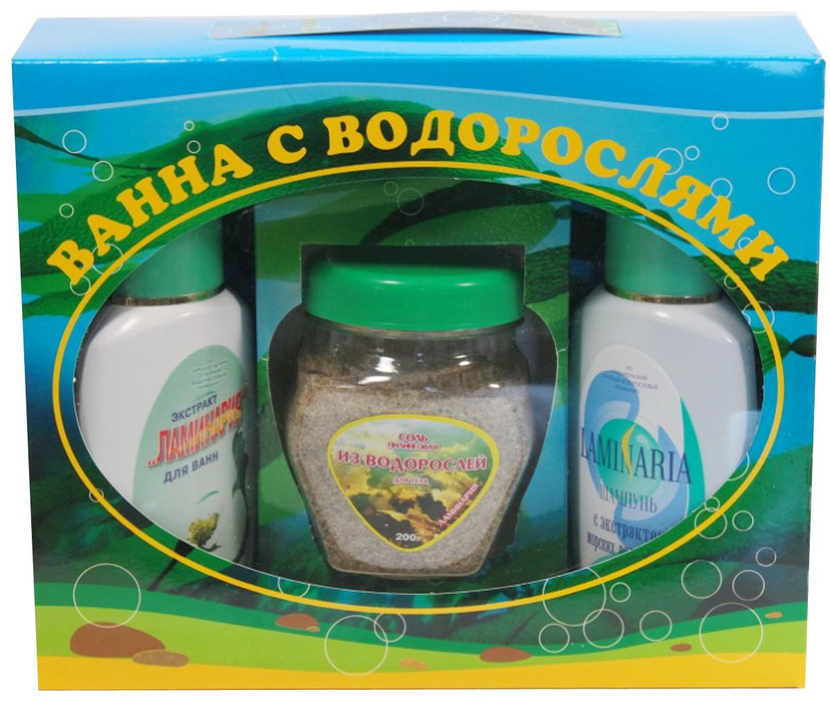 АОВК Набор косметический Ванна  водорослями: Пилинговая соль из водорослей Ламинария + Шампунь   морскими  + Экстракт  для