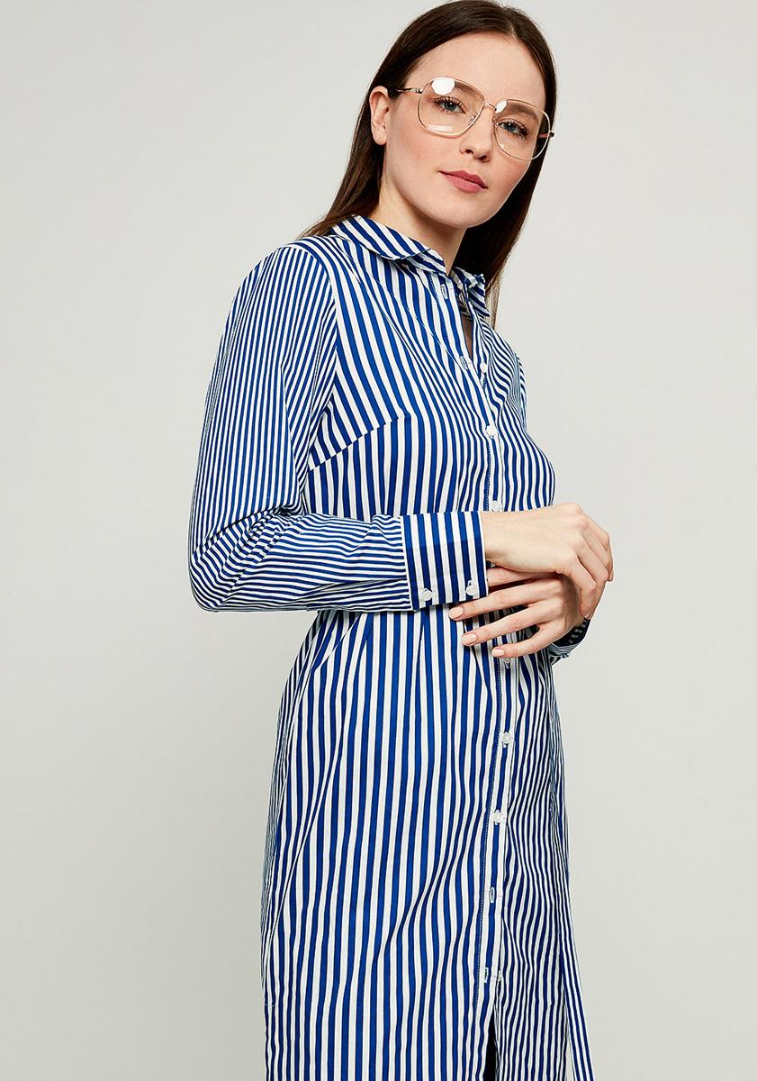 Платье Zarina, цвет: белый, синий. 8123016516112. Размер 528123016516112Стильное платье-рубашка от Zarina выполнено из натурального хлопка. Модель с длинными рукавами и отложным воротником застегивается на пуговицы, на талии дополнена тонким текстильным поясом.