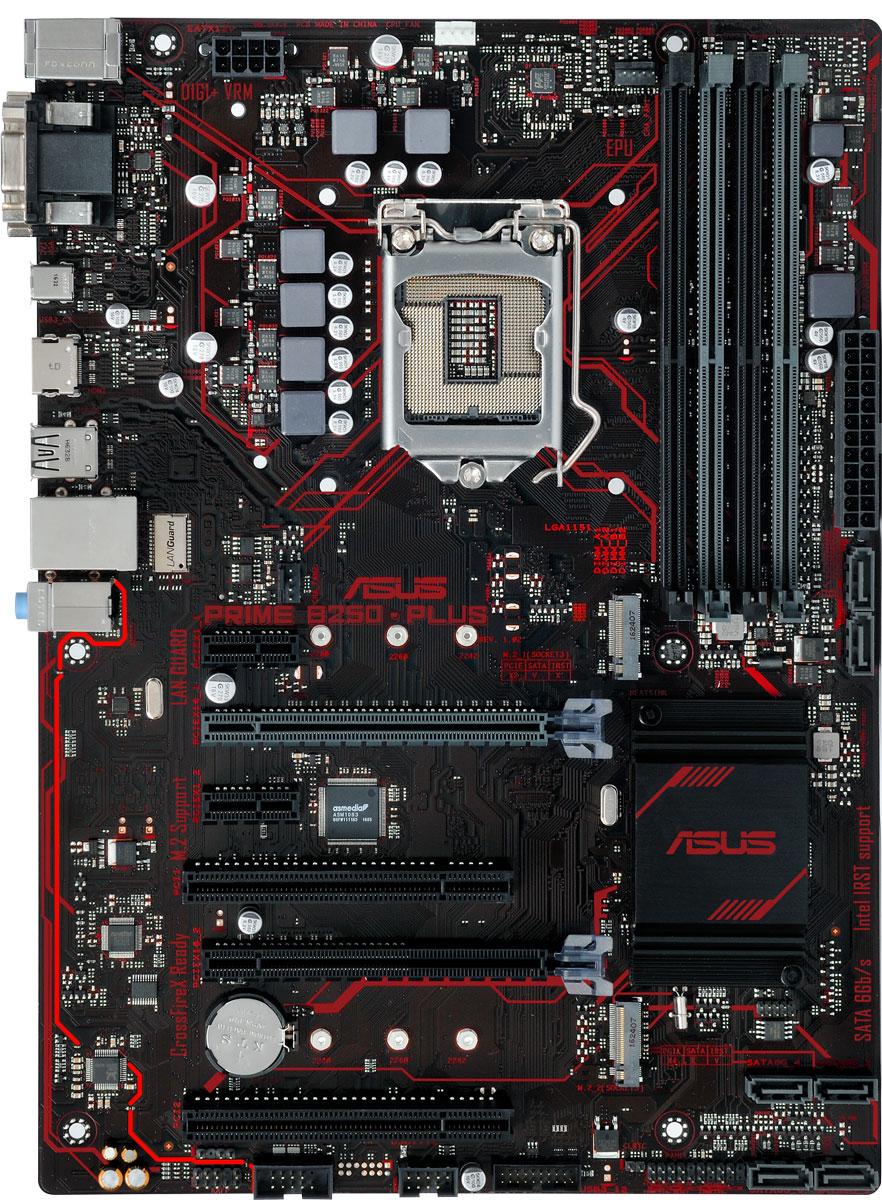 ASUS Prime B250-Plus материнская платаPRIME B250-PLUSASUS Prime B250-PLUS - инновационная ATX-плата для платформы Intel LGA 1151 со светодиодной подсветкой, поддержкой памяти DDR4 2400 МГц и накопителей Intel Optane, двумя разъемами M.2, портами HDMI, SATA 6 Гбит/с и USB 3.0.В материнской плате ASUS Prime B250-PLUS реализован комплекс технологий 5X Protection III, которыйгарантирует использование лучших компонентов и схемных решений, а также соответствие современнымстандартам для обеспечения непревзойденной надежности и длительного срока службы системы.SafeSlot Core - это разработанная ASUS конструкция слотов PCIe, которая отмечается улучшенной прочностьюи обеспечивает усиленный зажим видеокарты.Материнская плата ASUS Prime B250-PLUS имеет усиленные точки пайки вокруг контактов разъемов PCIe иDIMM.В системе питания данной материнской платы используются стабилизаторы, обеспечивающие защиту отперепадов напряжения, которые могут возникнуть при использовании блоков питания не самого высокогокачества.DDR4 - новый тип системной памяти, которая работает на высокой частоте (до 2400 МГц). Специалисты ASUSработают в тесном контакте с производителями модулей DDR4, чтобы обеспечить максимальнуюсовместимость компонентов.Fan Xpert 2+ - это интеллектуальная система управления вентиляторами, которая поможет добитьсяэффективного охлаждения компьютера при минимальном уровне шума.Сделайте дизайн вашего компьютера незабываемым с помощью оригинальных световых эффектов.За счет использования высококачественных компонентов и продуманной конструкции аудиоподсистема платыможет похвастать отличным качеством звучания.С данной моделью пользователь получает сразу два порта USB 3.0 на передней панели системного блока.Каждый из них обеспечит в несколько большую пропускную способность по сравнению с USB 2.0!Разъем USB Type-C совместим с широким спектром современных периферийных устройств и работает наскорости до 5 Гбит/с. Этот порт на 33% уже и на 50% тоньше, чем традиционный порт USB Type-A, а так