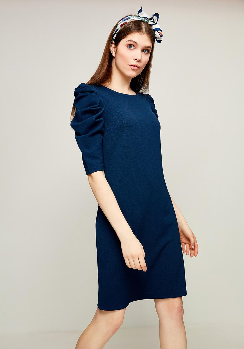 Платье Zarina, цвет: синий. 8123043543040. Размер 448123043543040Стильное платье от Zarina выполнено из эластичного трикотажа. Модель с короткими рукавами до локтя и круглым вырезом горловины. Рукава на плечах присборены.