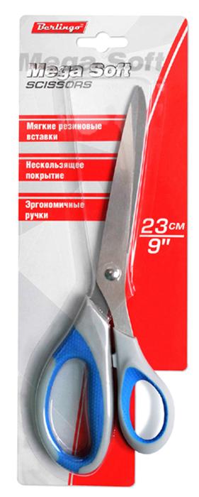 Berlingo Ножницы Mega Soft 23 см031963Лезвия ножниц Berlingo Mega Soft изготовлены из качественной нержавеющей стали. Пластиковые ручки эргономичной формы дополнены комфортными резиновыми вставками с особой зоной захвата, делающей работу с ними максимально удобной.