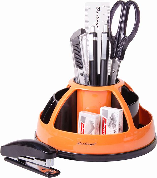 Berlingo Органайзер настольный комбинированный вращающийся цвет оранжевый 9 предметов