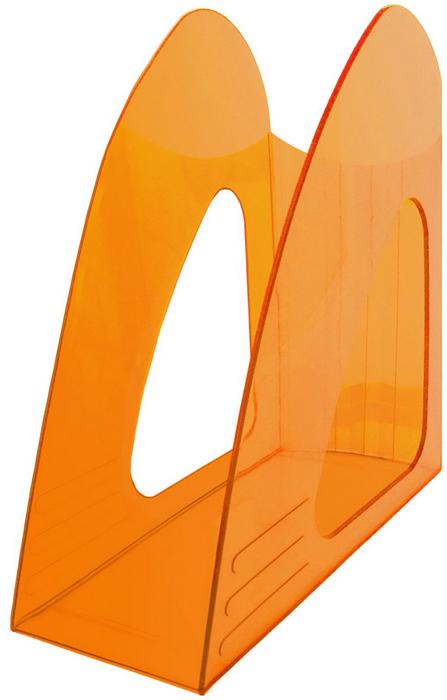 Hatber Лоток вертикальный цвет оранжевый тонированный 23,5 х 9 х 24 см047416Оригинальный и компактный вертикальный лоток без ограничителя предназначен для хранения неформатных папок, бумаг и печатных изданий.