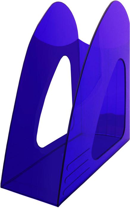Hatber Лоток вертикальный цвет синий тонированный 23,5 х 9 х 24 см047417Оригинальный и компактный вертикальный лоток без ограничителя предназначен для хранениянеформатных папок, бумаг и печатных изданий.
