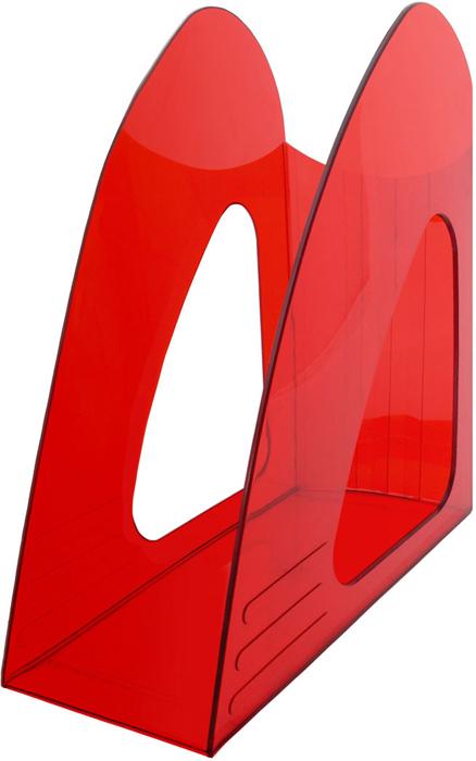 Hatber Лоток вертикальный цвет красный тонированный 23,5 х 9 х 24 см - Лотки, подставки для бумаг