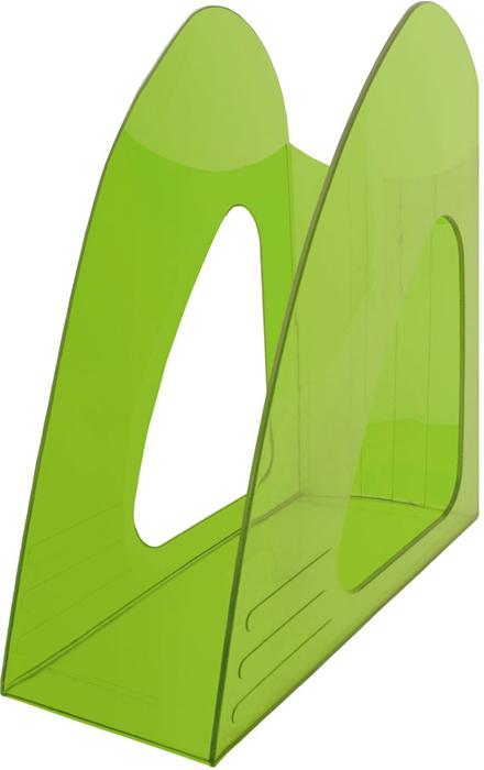 Hatber Лоток вертикальный цвет зеленый тонированный 23,5 х 9 х 24 см - Лотки, подставки для бумаг