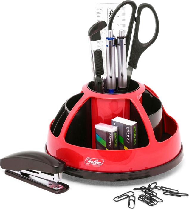 Hatber Органайзер настольный комбинированный вращающийся Comfort цвет красный 9 предметов -  Органайзеры, настольные наборы