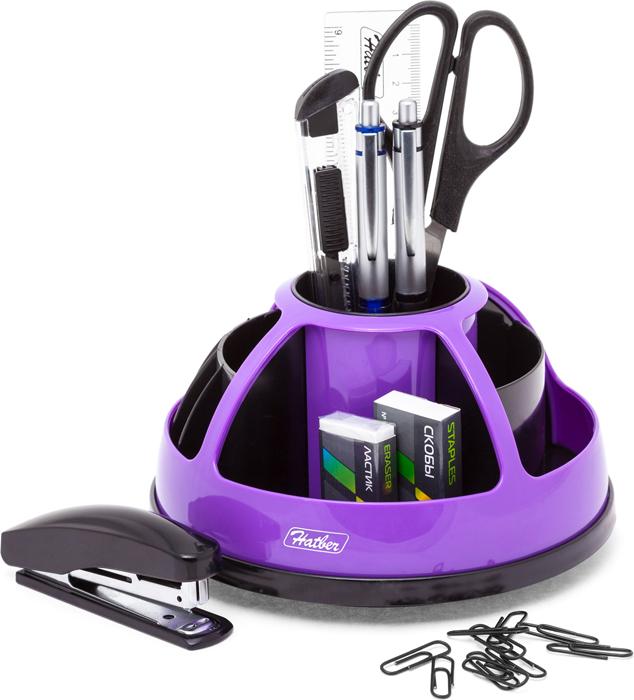 Hatber Органайзер настольный комбинированный вращающийся Comfort цвет фиолетовый 9 предметов -  Органайзеры, настольные наборы