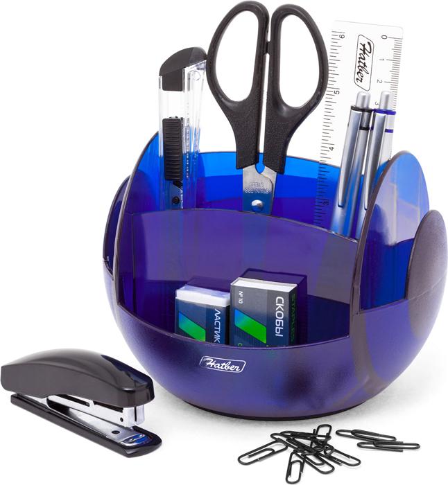 Hatber Органайзер настольный вращающийся Universal цвет полупрозрачный синий 9 предметов
