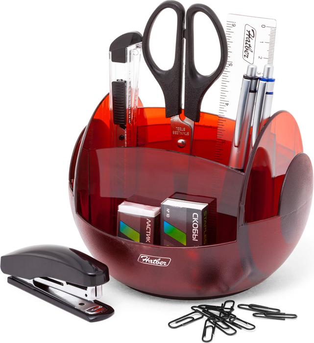 Hatber Органайзер настольный вращающийся Universal цвет полупрозрачный красный 9 предметов -  Органайзеры, настольные наборы