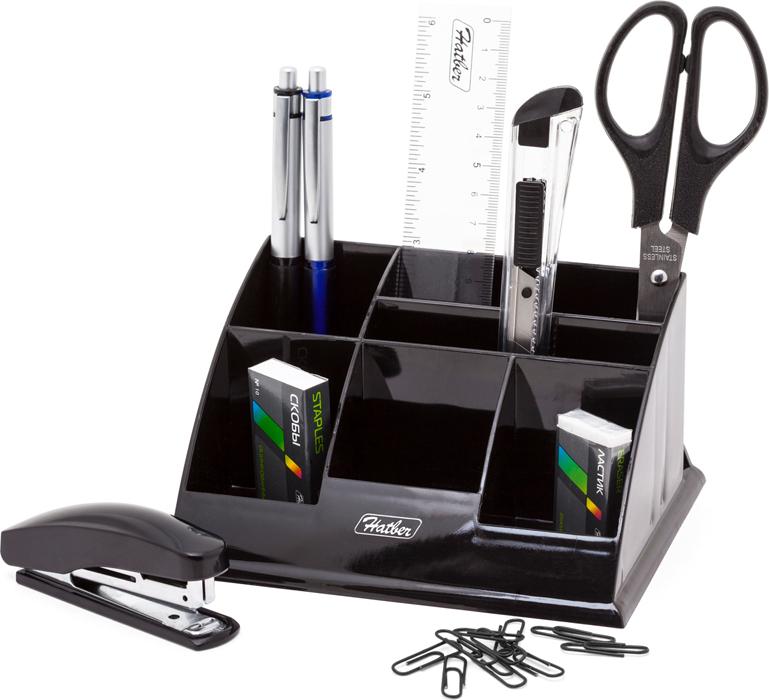 Hatber Органайзер настольный Office цвет черный 9 предметов -  Органайзеры, настольные наборы