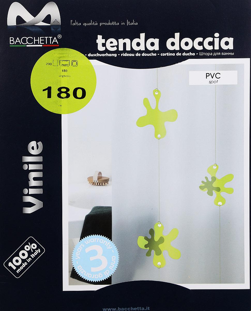 """Штора для ванной Bacchetta """"Spot"""" - это влагонепроницаемая, надежная, долговечная и практичная штора. Штора выполнена из высококачественного ПВХ. Полотна отличаются высочайшими качественными характеристиками: высокими показателями износостойкости, прочности, цветостойкости и цветопередачи. Печатный рисунок на прозрачном матовом фоне визуально не нагромождает пространство небольшой ванной комнаты. Штора обладает высокой прочностью, со временем не выцветает, а рисунок не вымывается. Изделие легко моется и быстро сохнет. В комплекте предусмотрено 12 пластиковых колец."""