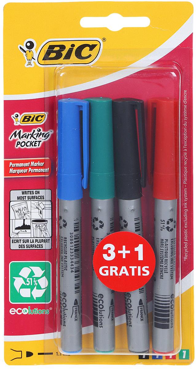 Фото Bic Набор перманентных маркеров Marking Pocket 4 шт