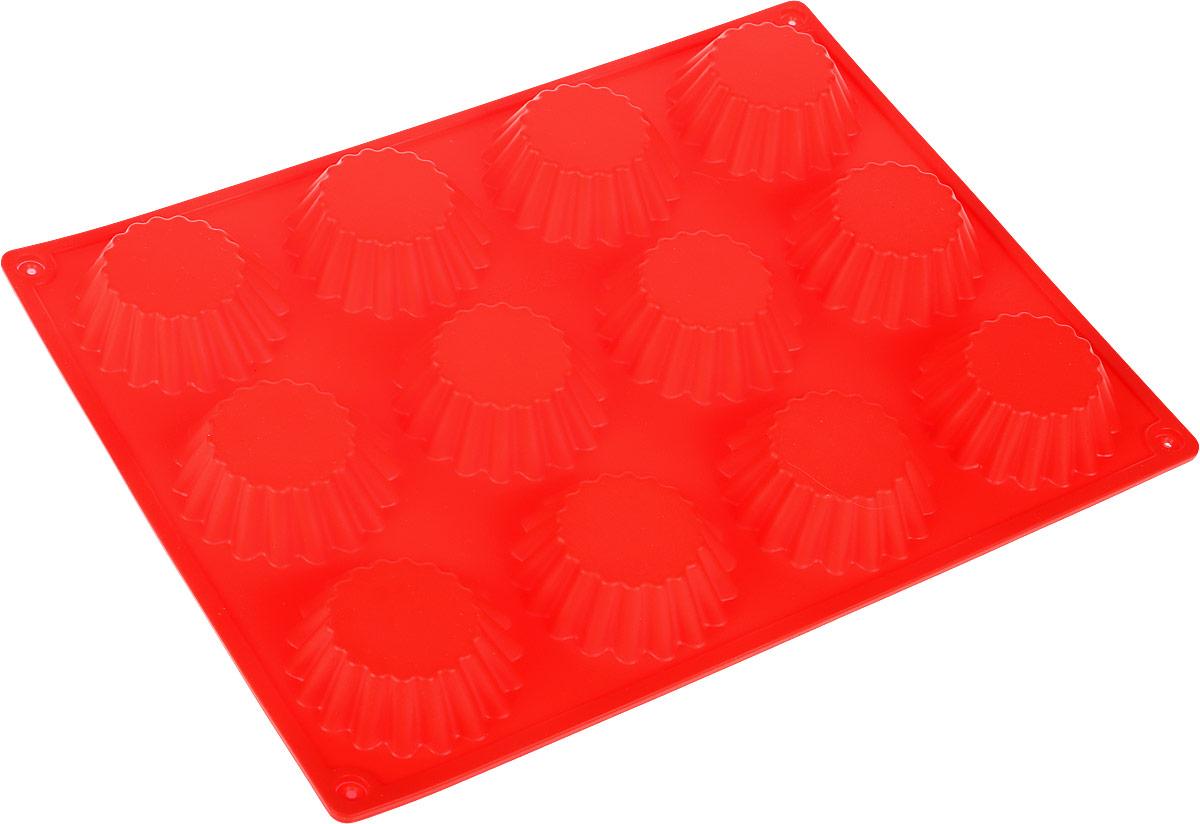 Форма для выпечки Доляна Кексы малые, цвет: красный, 34,5 х 26 х 3 см, 12 ячеек1000384_красныйФорма для выпечки из силикона Доляна Кексы малые - современное решение для практичных ирадушных хозяек. Оригинальный предмет позволяет готовить в духовке любимые блюда из мяса,рыбы, птицы и овощей, а также вкуснейшую выпечку!Почему это изделие должно быть на кухне?- блюдо сохраняет нужную форму и легко отделяется от стенок после приготовления, - высокая термостойкость (от -40 до 230° С) позволяет применять форму в духовых шкафах иморозильных камерах, - небольшая масса делает эксплуатацию предмета простой даже для хрупкой женщины, - силикон пригоден для посудомоечных машин, - высокопрочный материал делает форму долговечным инструментом, - при хранении предмет занимает мало места. Советы по использованию формы: - перед первым применением промойте предмет теплой водой, - в процессе приготовления используйте кухонный инструмент из дерева, пластика или силикона,- перед извлечением блюда из силиконовой формы дайте ему немного остыть, осторожноотогните края предмета.Готовьте с удовольствием!