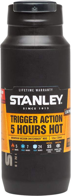 Термокружка Stanley Mountain, цвет: черный, 350 мл10-02284-004Термокружка 0,35 л. Вакуумная изоляция. Нержавеющая сталь. Сохраняет тепло 5 часов, холод – 7 часов, напитки со льдом – 24 часа. Дополнительная пластиковая крышка препятствует образованию пыли на отверстии для питья. Удобна для эксплуатации в автомобиле,так как позволяет одной рукой открывать,закрывать и пить,не отвлекаясь от дороги. Карабин для захвата одним пальцем. Для эксплуатации в автомобиле. Подходит для мытья в посудомоечной машине. Пожизненная гарантия.