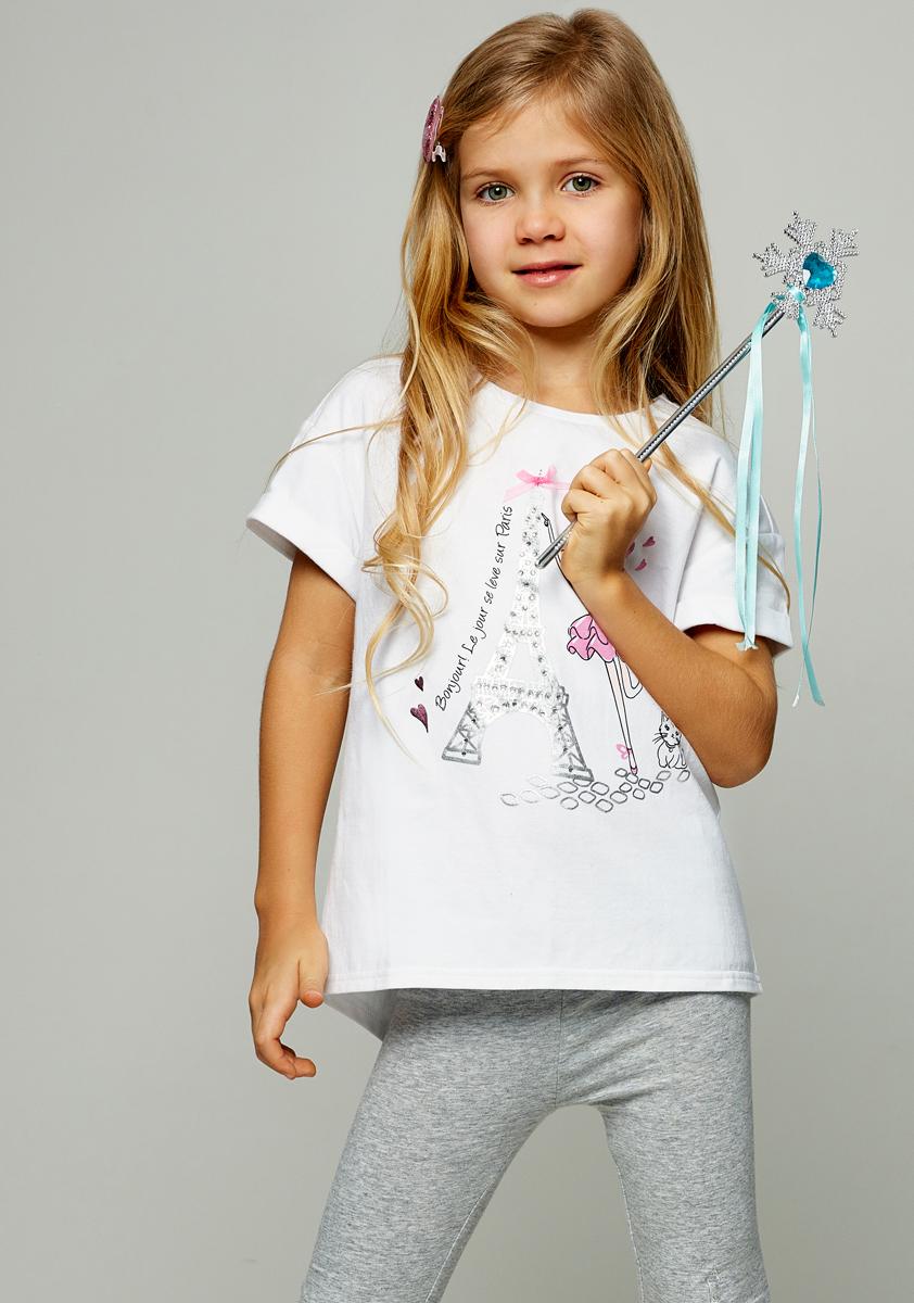 Футболка для девочки Zarina, цвет: белый. 8122508408003D. Размер 1408122508408003DСтильная футболка для девочки Zarina выполнена из хлопка с добавлением эластана. Модель с круглым вырезом горловины и короткими рукавами оформлена принтом.