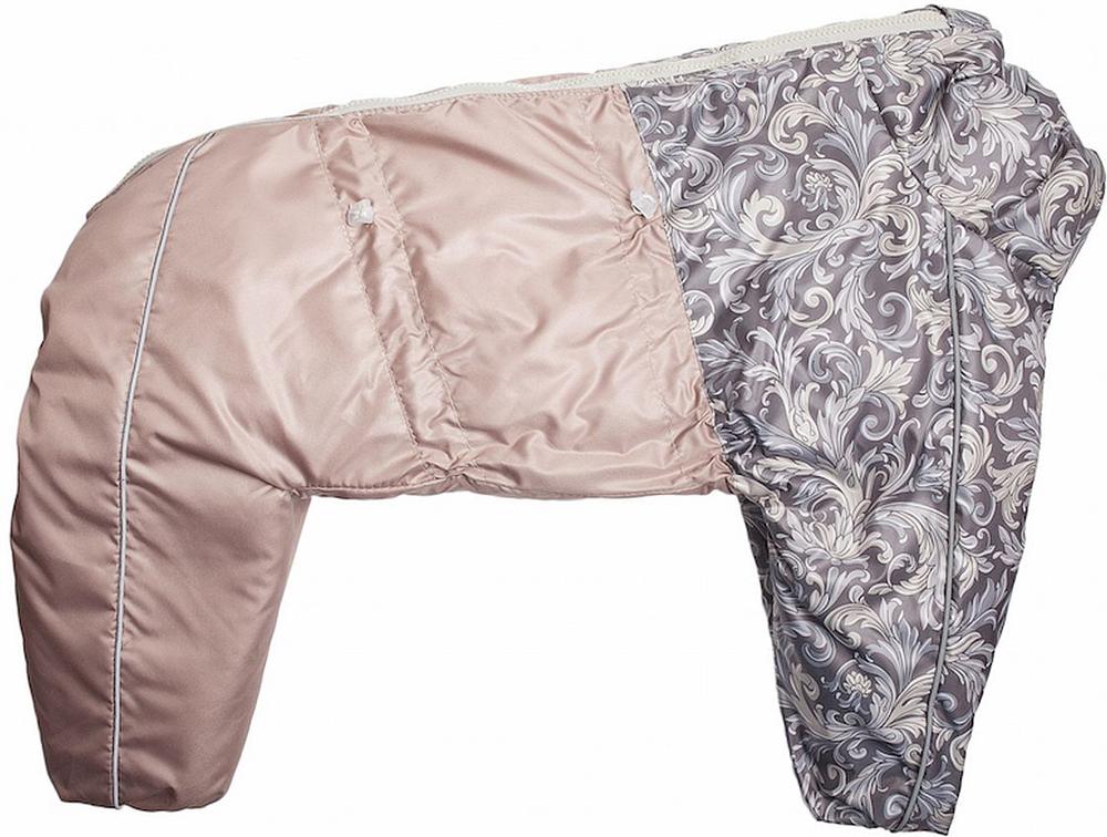 Комбинезон для собак OSSO Fashion, для девочки, цвет: бежевый. Размер 45Ксп-1035-бежевый-вставкаКомбинезон на синтепоне для собак OSSO Fashion состоит из: - водоотталкивающей и ветрозащитной ткани (100% полиэстер), обработанной водоотталкивающей (PU) пропиткой.- утеплителя - синтепон и подкладки 100% полиэстер.Идеален для прогулок в холодную, морозную или сырую погоду для защиты собаки от снега, грязи и воды.Выполнен из двух сочетаемых по цвету тканей, используется отделка со светоотражающим кантом. Внутренняя часть утеплена синтепоном. Застегивается сверху на спине на молнии. На воротнике имеется кнопка для фиксации. Комфортная посадка по корпусу достигается за счет резинок-утяжек под грудью и животом. Низ штанин сборен на резинку, при желании можно подвернуть.Комбинезон OSSO Fashion максимально защитит собаку от холода и грязи, т.к животик полностью закрыт, для кобелей есть специальный вырез.Рекомендуется машинная стирка с использованием средства для стирки деликатных тканей (при температуре не выше 40С), сушка на воздухе – с целью уменьшения воздействия на водоотталкивающую (PU) пропитку ткани.Длина спины: 45 смОбъем груди: 65 см