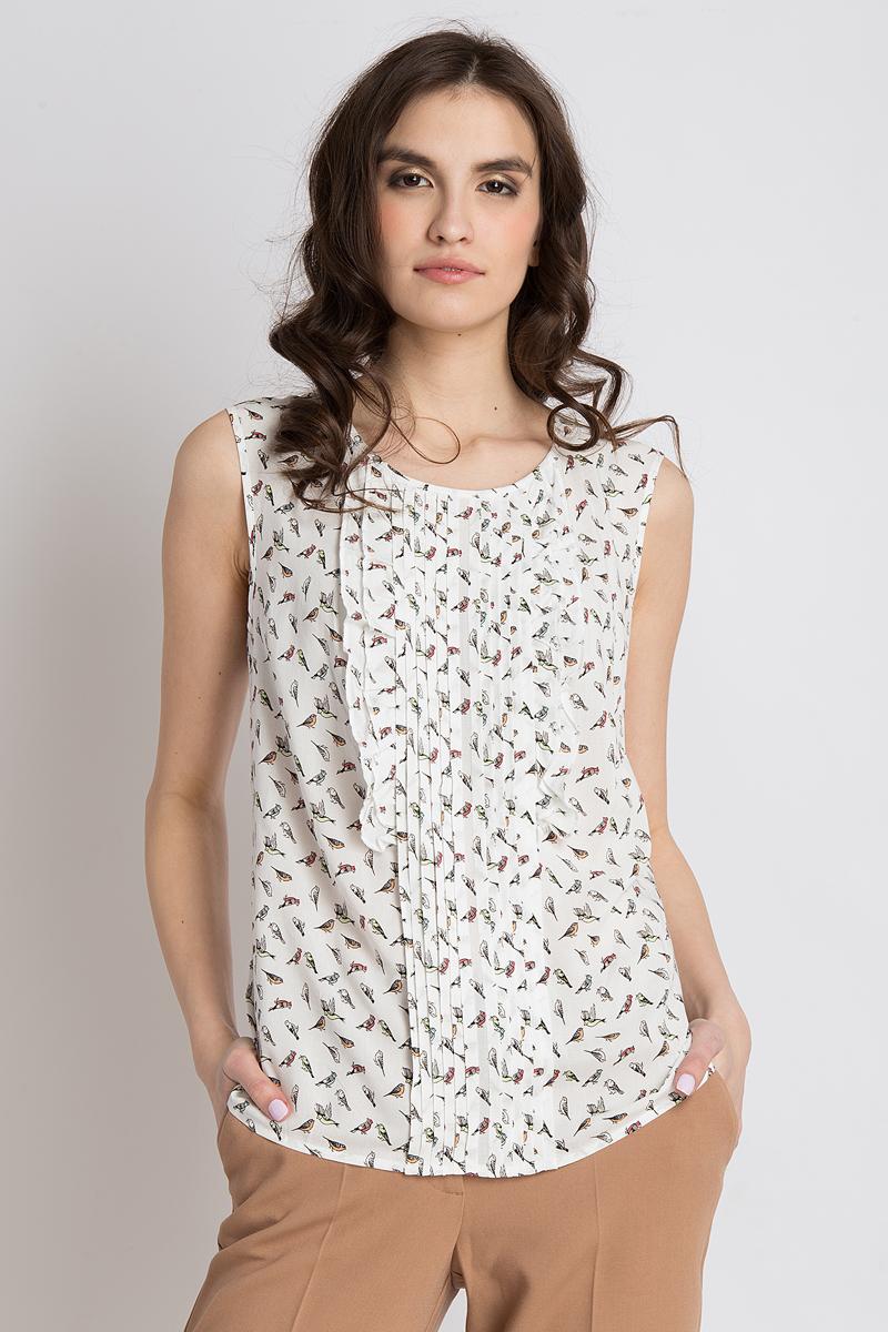 Блузка женская Finn Flare, цвет: белый. B18-32089_201. Размер S (44)B18-32089_201