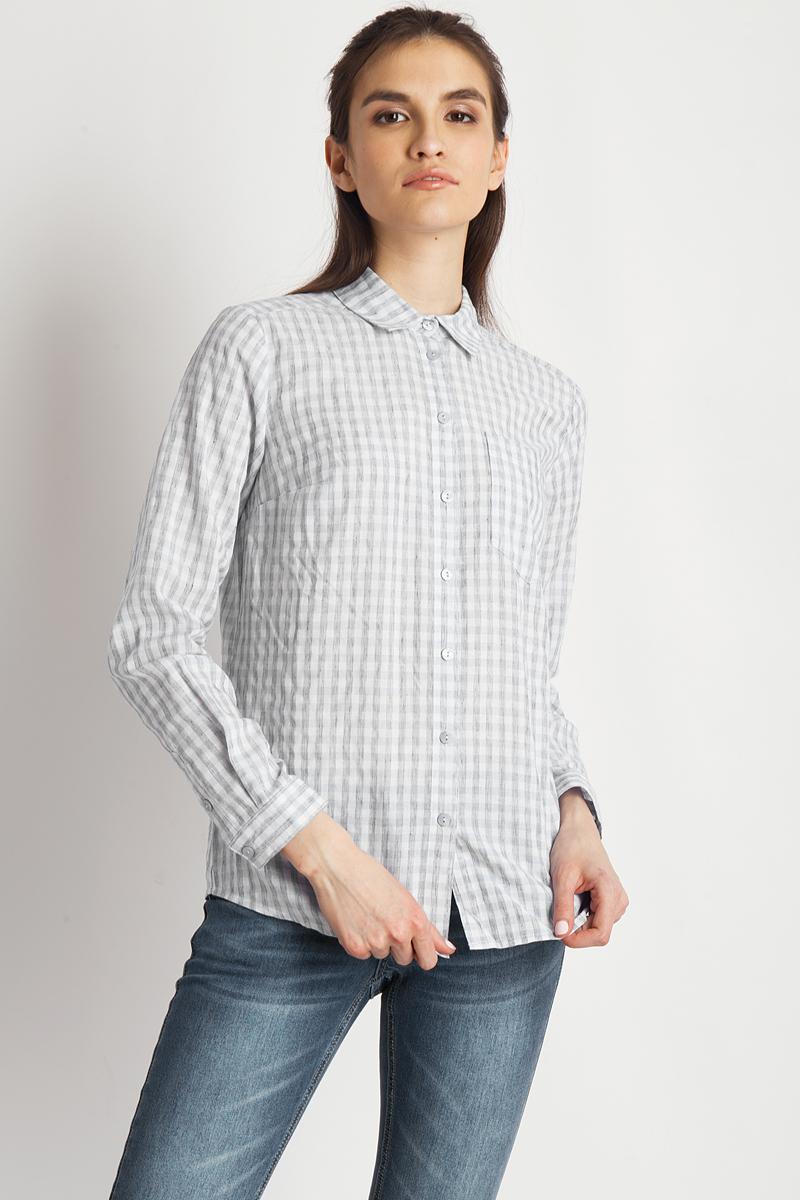Блузка женская Finn Flare, цвет: светло-серый. B18-32067_211. Размер S (44)B18-32067_211Стильная блузка Finn Flare, выполненная из 100% хлопка, подчеркнет ваш уникальный стиль и поможет создать оригинальный женственный образ. Модель с отложным воротником и длинными рукавами оформлена интересным принтом. Спереди изделие застегивается на пуговицы.Такая блузка будет дарить вам комфорт в течение всего дня и послужит замечательным дополнением к вашему гардеробу. Модель идеально подойдет для жарких летних дней.
