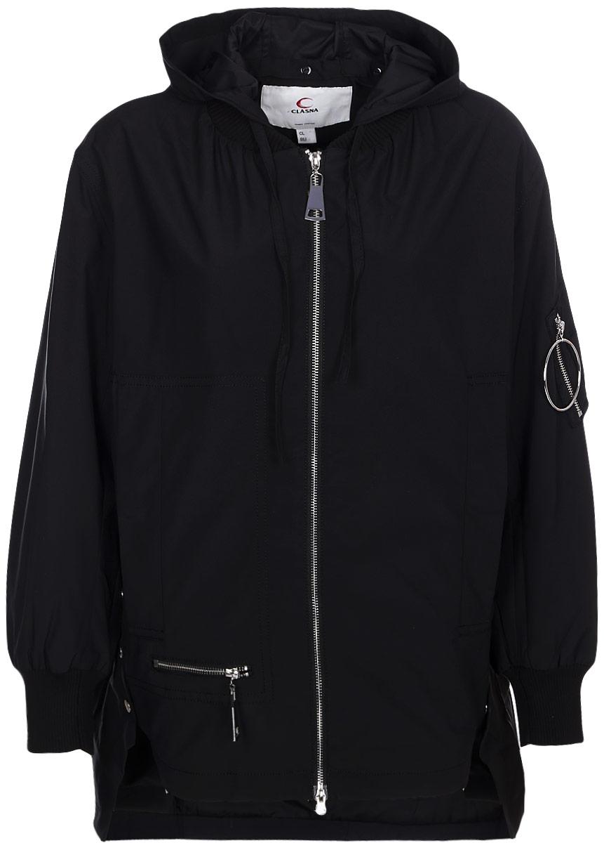 Куртка женская Clasna, цвет: черный. CW18C-048CW. Размер S (42)CW18C-048CW(701)Оригинальная женская куртка Clasna выполнена из высококачественного полиэстера с синтепоновым утеплителем. Модель свободного кроя с удлиненной спинкой и капюшоном застегивается на двухзамковую молнию и дополнена двумя прорезными карманами спереди изделия и накладным карманом на молнии на рукаве.