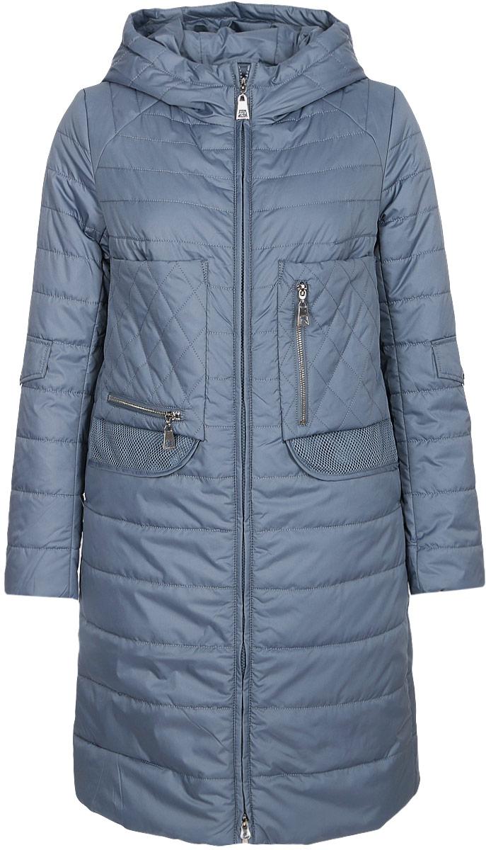 Куртка женская Clasna, цвет: джинсовый. CW18C-121CW. Размер L (46)CW18C-121CW(583)материала с синтепоновым утеплителем, отлично подойдет для прохладной погоды. Удлиненная модель А-силуэта с капюшоном и воротником-стойкой, надежно защищающим от ветра, застегивается на двухзамковую молнию с внутренней ветрозащитной планкой. Изделие дополнено двумя прорезными карманами и двумя накладными карманами на молнии.