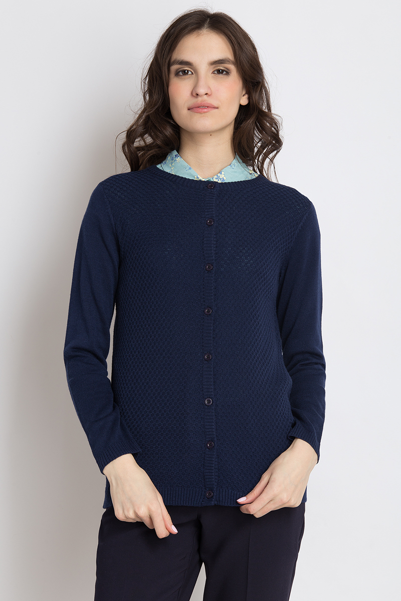 Кардиган женский Finn Flare, цвет: темно-синий. B18-11104_101. Размер M (46) платье finn flare цвет темно синий черный b18 11124 размер m 46
