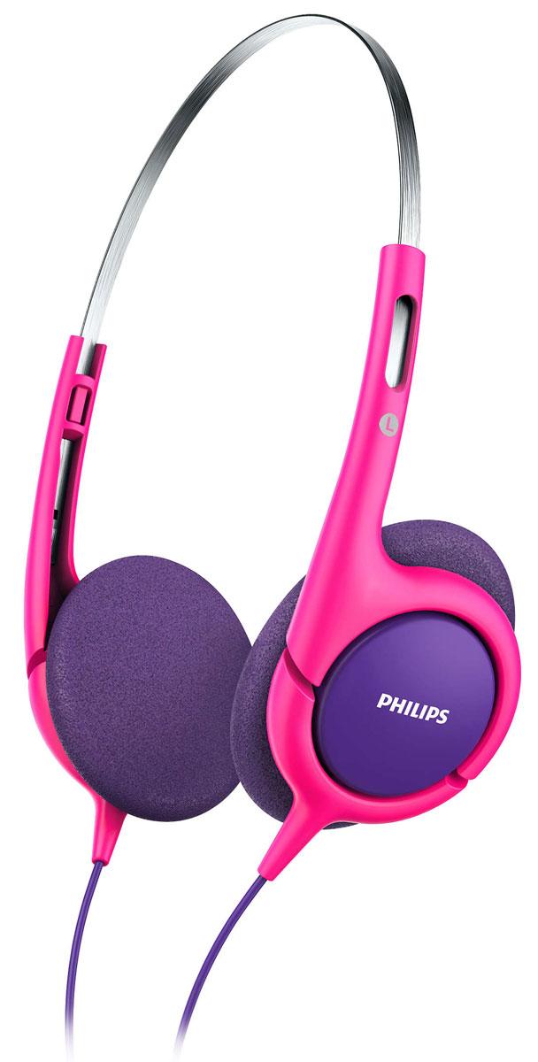Philips SHK1031, Pink наушники для детейSHK1031/00Чтобы ваши дети всегда могли наслаждаться любимыми мелодиями, компания Philips разработала специальныенаушники SHK1031 с регулируемым размером. Оптимальная посадка и ограничение звука до 85 дБ обеспечиваютбезопасное прослушивание.Удобное оголовье можно полностью регулировать, что обеспечивает удобную посадку для детей любоговозраста.32-мм излучатели с неодимовыми магнитами обеспечивают хорошо сбалансированное звучание. Неодим являетсянаилучшим материалом для создания сильного магнитного поля, что улучшает чувствительность звуковойкатушки, усиливает низкие частоты и обеспечивает качественное сбалансированное звучание.Тонкое ультралегкое оголовье обеспечивает максимальный комфорт даже при длительном прослушивании втечение нескольких часов. Наушники настолько удобны, что ребенок может даже совсем забыть о них.Чашки наушников имеют мягкие насадки из вспененного материала для максимально комфортной и надежнойпосадки.Наушники для детей настроены на ограничение громкости до 85 дБ, поэтому вы можете быть уверены, что вашребенок слушает музыку с безопасным уровнем громкости.