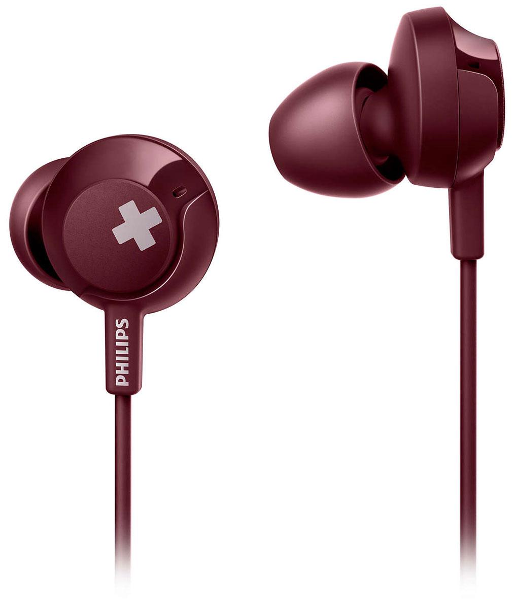 Philips SHE4305 Bass+, Red наушникиSHE4305RD/00Оцените поистине мощный звук и компактный дизайн. Наушники Philips BASS+ со специально настроеннымиизлучателями воспроизводят насыщенные басы, обеспечивают отличную звукоизоляцию и надежную посадку,чтобы вы смогли насладиться качественным звучанием.Глубокий и насыщенный бас для максимального чувства ритма. Воспроизведение эффектных низких частотблагодаря мощным 12,2-мм излучателям в сочетании с изящным, компактным корпусом.Эргономичный дизайн с овальными и изогнутыми звуковыми трубками для удобной и естественной посадки. Выможете слушать музыку на протяжении нескольких часов без остановки с ощущением полного комфорта.Удобные элементы управления позволяют приостанавливать или запускать воспроизведение и отвечать навызовы простым нажатием.Вкладыши обеспечивают оптимальную пассивную шумоизоляцию, а превосходная посадка гарантируеткачественное воспроизведение музыки.