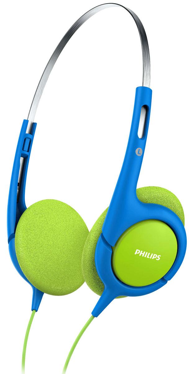 Philips SHK1030, Blue наушники для детейSHK1030/00Чтобы ваши дети всегда могли наслаждаться любимыми мелодиями, компания Philips разработала специальныенаушники SHK1030 с регулируемым размером. Оптимальная посадка и ограничение звука до 85 дБ обеспечиваютбезопасное прослушивание.Удобное оголовье можно полностью регулировать, что обеспечивает удобную посадку для детей любоговозраста.32-мм излучатели с неодимовыми магнитами обеспечивают хорошо сбалансированное звучание. Неодим являетсянаилучшим материалом для создания сильного магнитного поля, что улучшает чувствительность звуковойкатушки, усиливает низкие частоты и обеспечивает качественное сбалансированное звучание.Тонкое ультралегкое оголовье обеспечивает максимальный комфорт даже при длительном прослушивании втечение нескольких часов. Наушники настолько удобны, что ребенок может даже совсем забыть о них.Чашки наушников имеют мягкие насадки из вспененного материала для максимально комфортной и надежнойпосадки.Наушники для детей настроены на ограничение громкости до 85 дБ, поэтому вы можете быть уверены, что вашребенок слушает музыку с безопасным уровнем громкости.