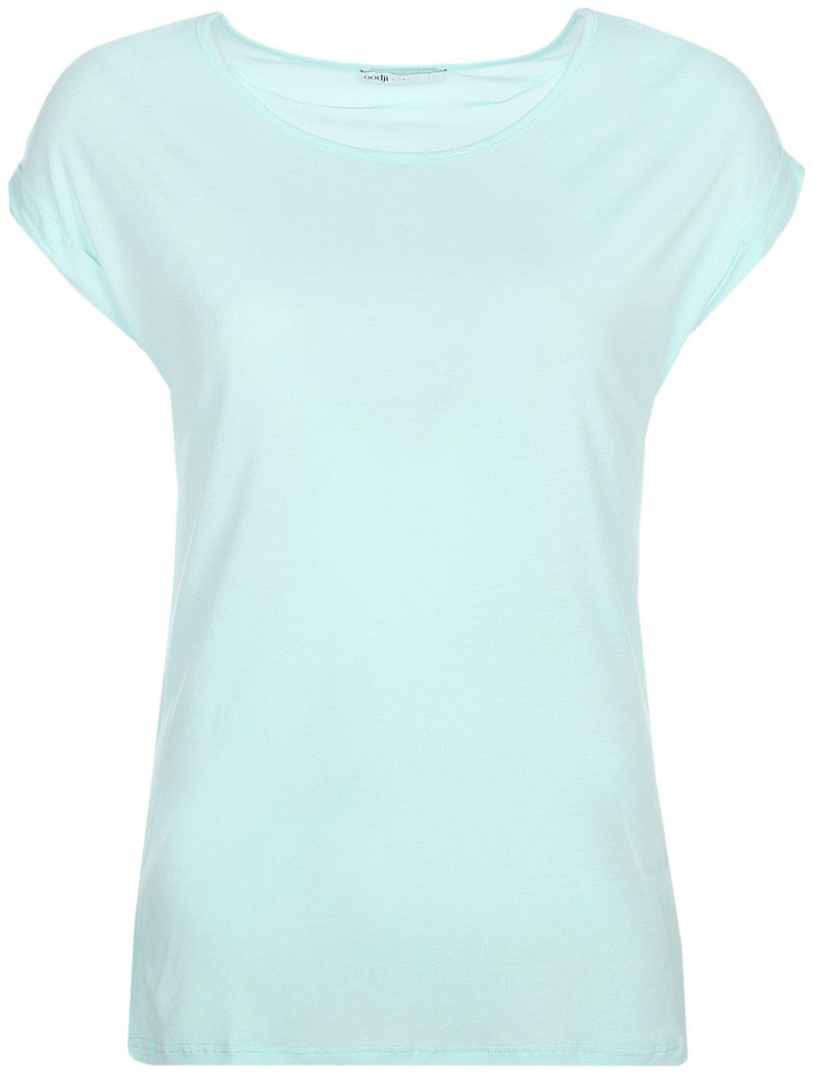 Футболка женская oodji Ultra, цвет: светло-зеленый. 14708006-2/45471/6562P. Размер M (46)14708006-2/45471/6562PФутболка от oodji свободного кроя с коротким рукавом и круглой горловиной. Рукава оформлены маленькими отворотами. Классической прямой футболке не требуются декоративные элементы.Такая модель относится к базовому гардеробу и будет прекрасно сочетаться с большинством из ваших вещей. Она эффектно смотрится с принтованными юбками любого силуэта, шортами или брюками. Чтобы создать деловой образ, можно заправить футболку в юбку-карандаш, надеть классический жакет, туфли-лодочки и добавить неброское колье или подвеску. Для образа в стиле Casual стоит заправить ее в свободные джинсы с завышенной талией, добавить кеды или слипоны и стильный яркий рюкзак.