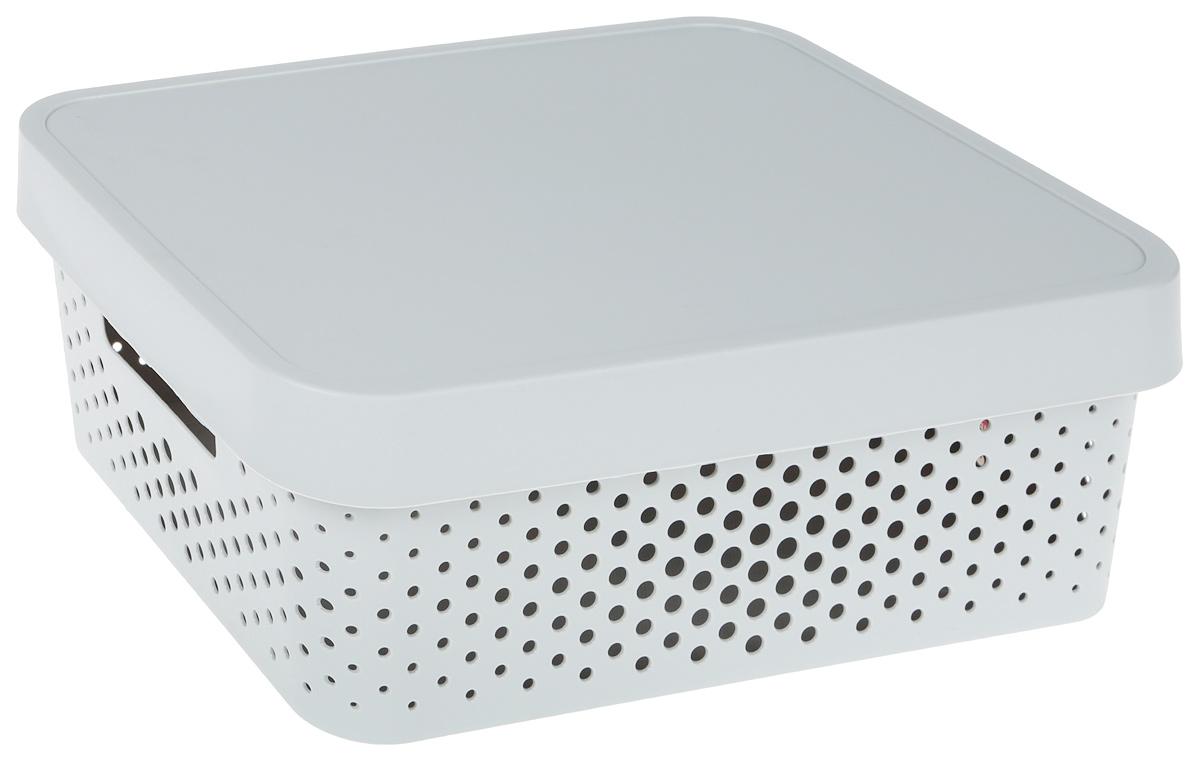 Коробка перфорированная - практичная и вместительная ёмкость для  хранения всевозможных мелочей. Изготовлена из нетоксичного качественного  пластика, объем - 11 литров. Серый цвет и прямые линии делают изделие  стильным и универсальным. Оно отлично впишется в любой дизайн ванной  комнаты, гостиной, прихожей, гардеробной или спальни. В ней удобно хранить  косметику, аксессуары для рукоделия, детские игрушки, овощи и фрукты и  многое другое. За счёт отверстий корзина хорошо вентилируется, поэтому  можно её использовать и для белья..