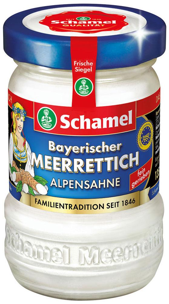 Schamel Хрен с альпийскими сливками, 135 г201702Вкусный аромат хрена, полностью округленный по вкусу, разворачивается в каждой банке и дает каждому свое восхитительное замечание. Особенно мягкий и вкусно кремовый. Идеально подходит к лососем, изысканным рыбным блюдам, холодным жарким или нежным ветчинам.
